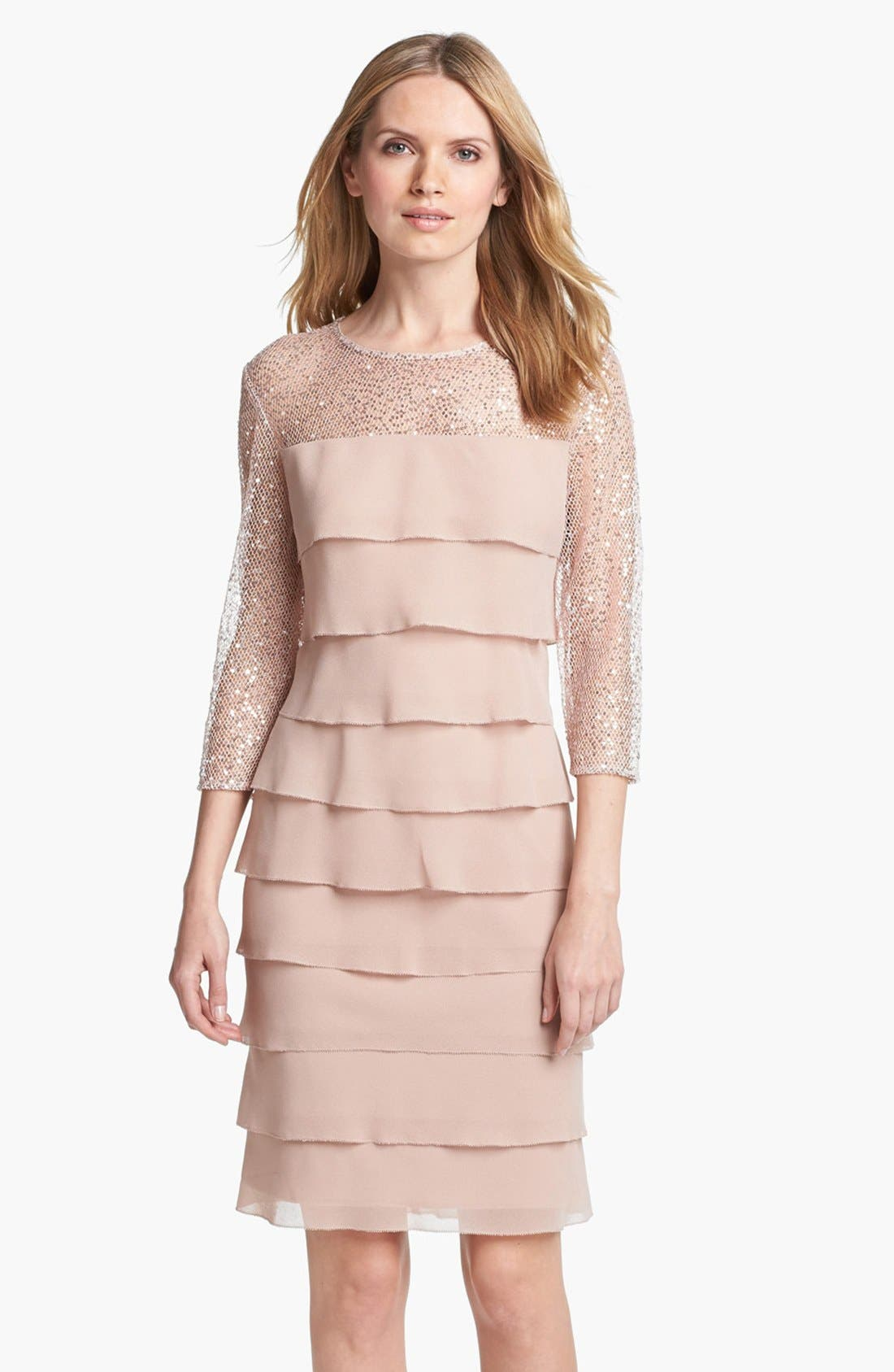Main Image - Alex Evenings Embellished Yoke Tiered Dress (Petite)