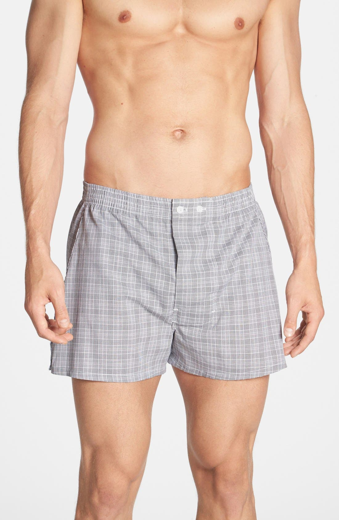 Classic Fit Cotton Boxers,                         Main,                         color, Black/ Purple