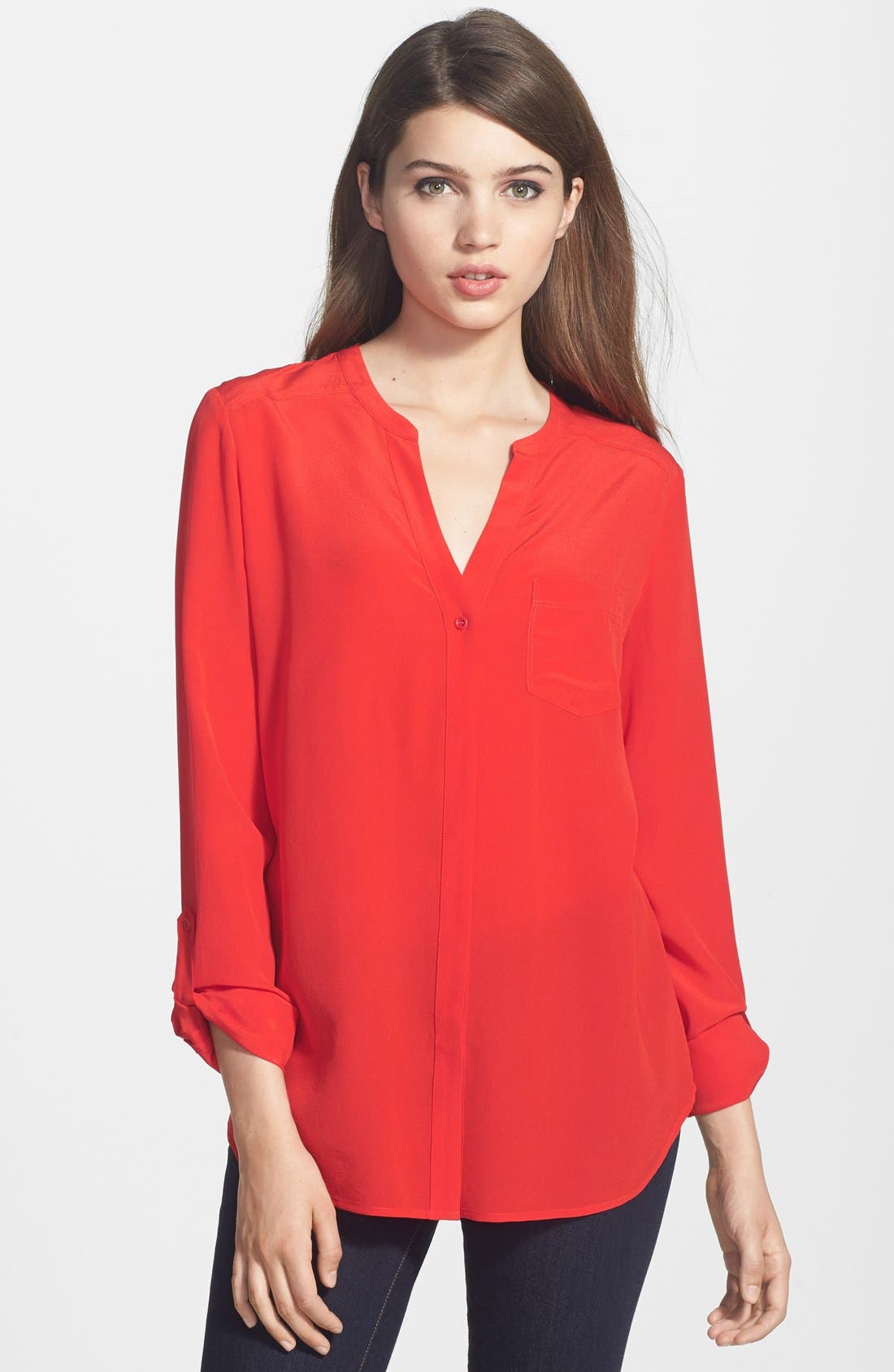 Collarless Silk Blouse,                             Main thumbnail 1, color,                             Red Scarlet