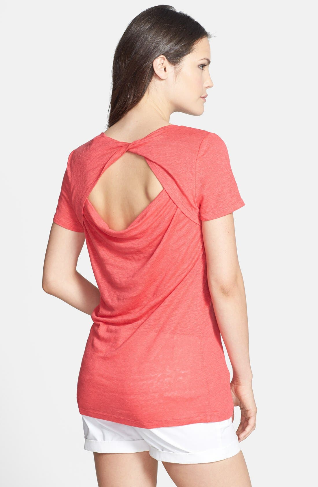 Alternate Image 2  - Halogen® Twist Back Short Sleeve Linen Tee (Petite)