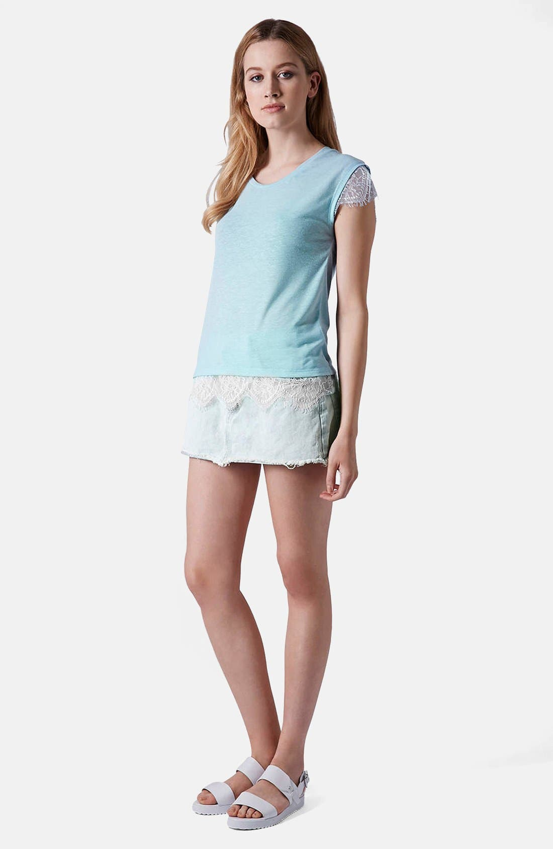 Alternate Image 5  - Topshop Moto Bleach Wash Cutoff Skirt (Light Denim)