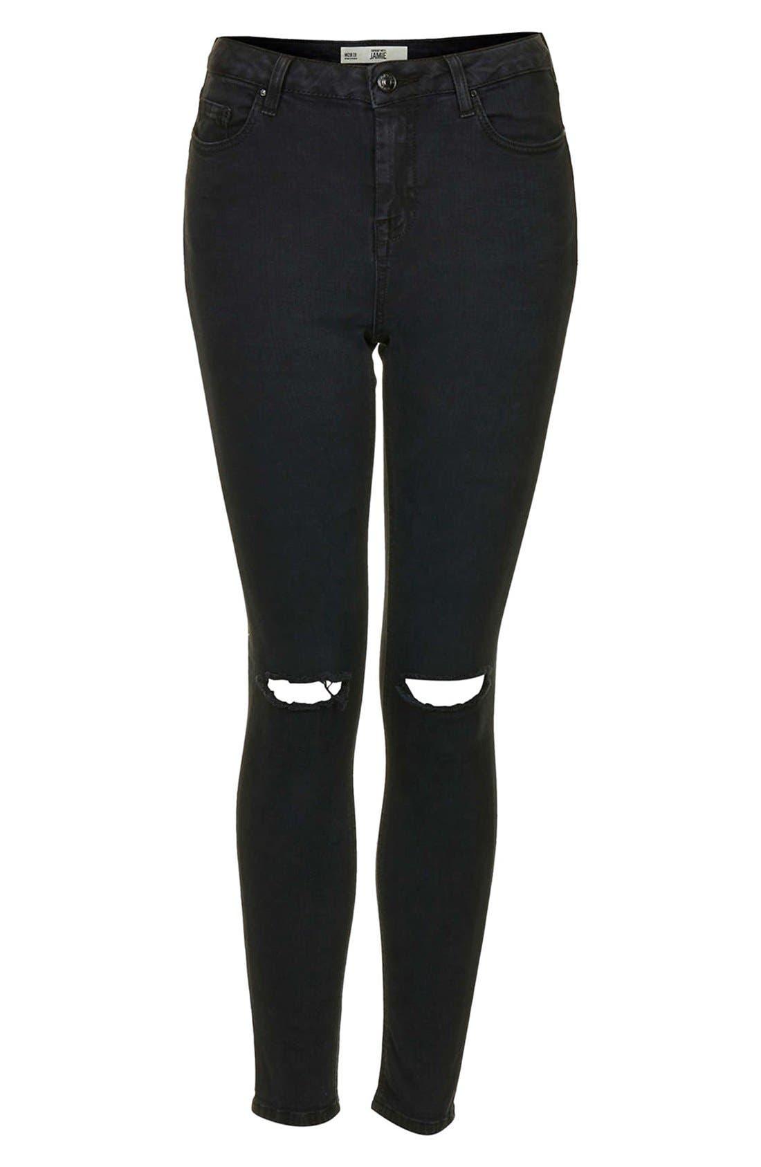 Alternate Image 3  - Topshop Moto 'Jamie' Dark Wash Ripped Slim Jeans (Black) (Short & Regular)