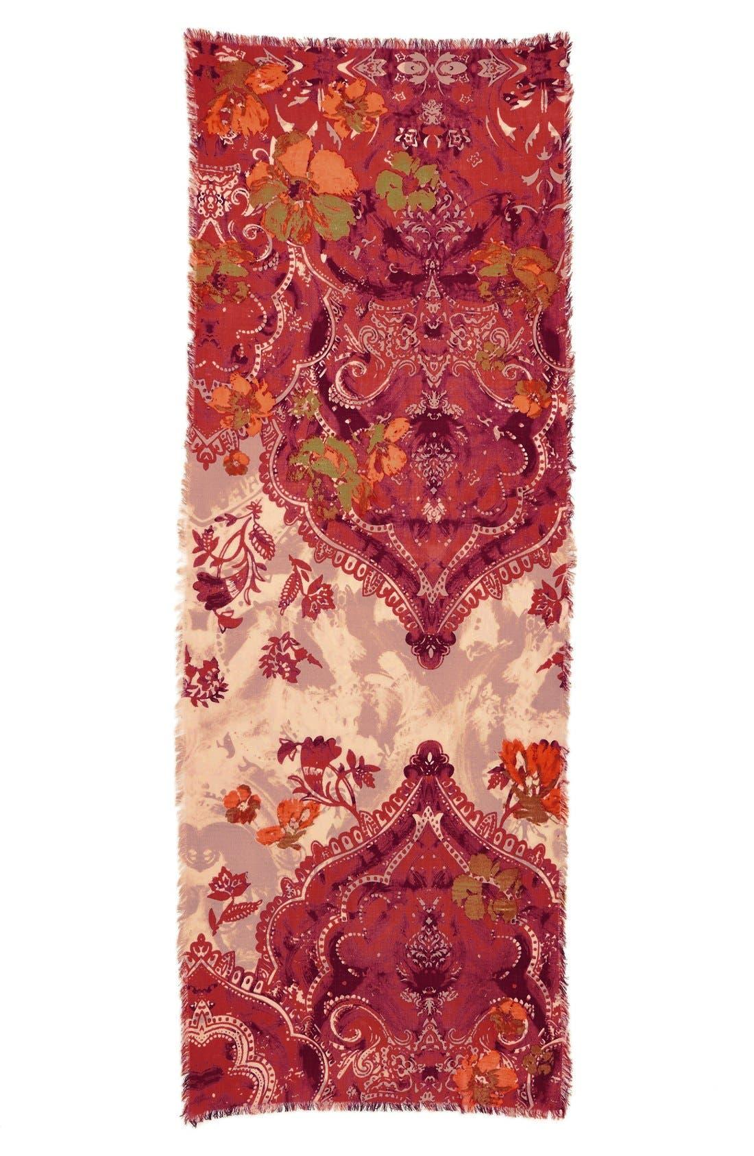Alternate Image 3  - Nordstrom 'Baroque Floral' Wool Scarf