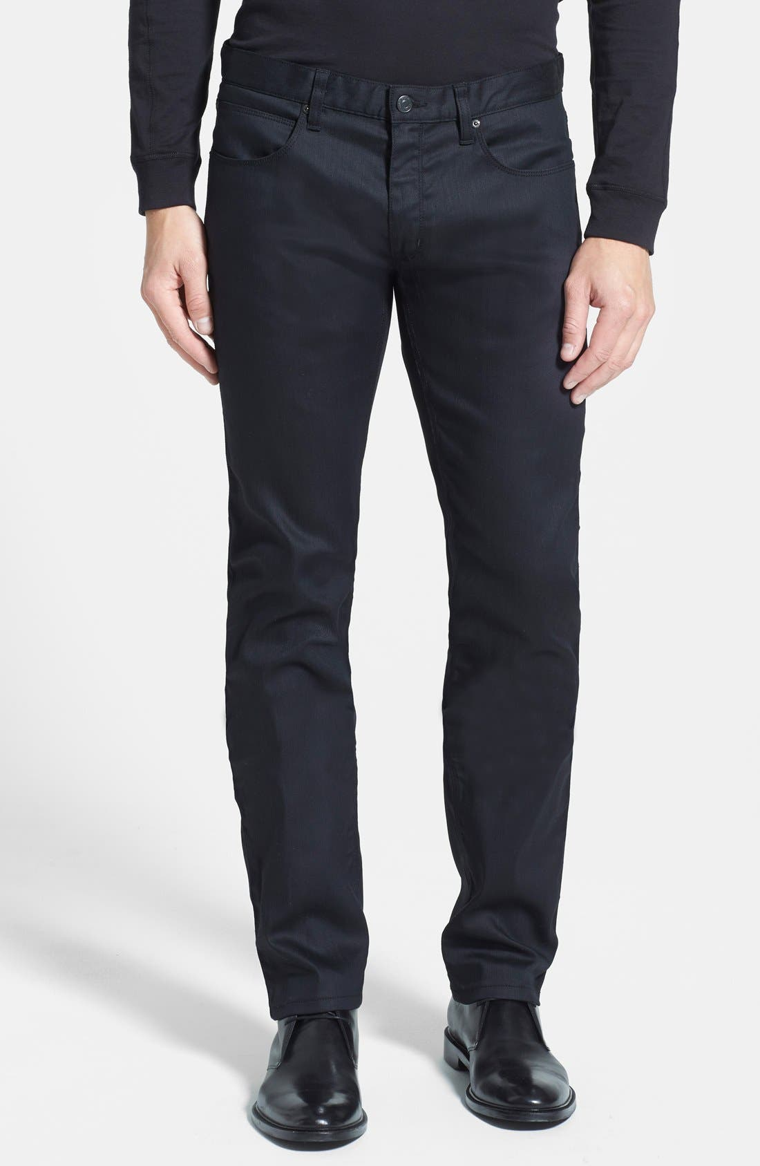 HUGO '708' Slim Fit Jeans,                             Main thumbnail 1, color,                             Black