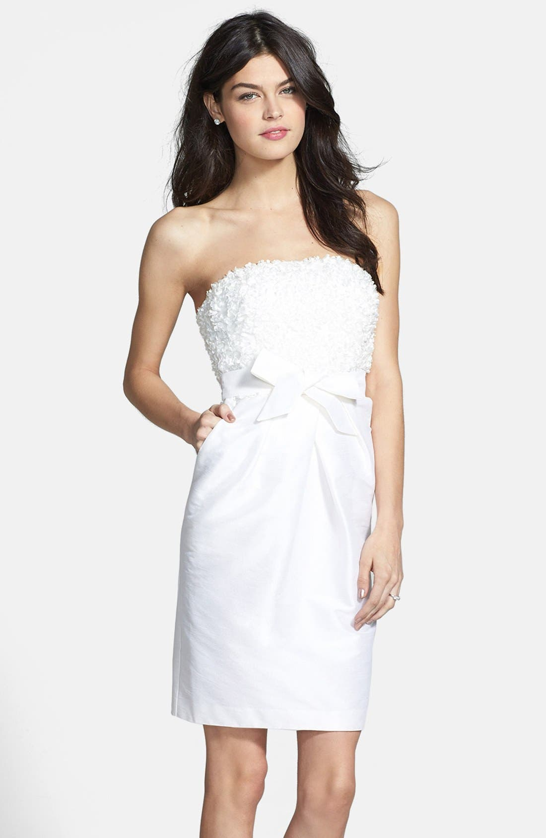 Alternate Image 1 Selected - Donna Morgan 'Gemma' Strapless Rosette Dress (Online Only)