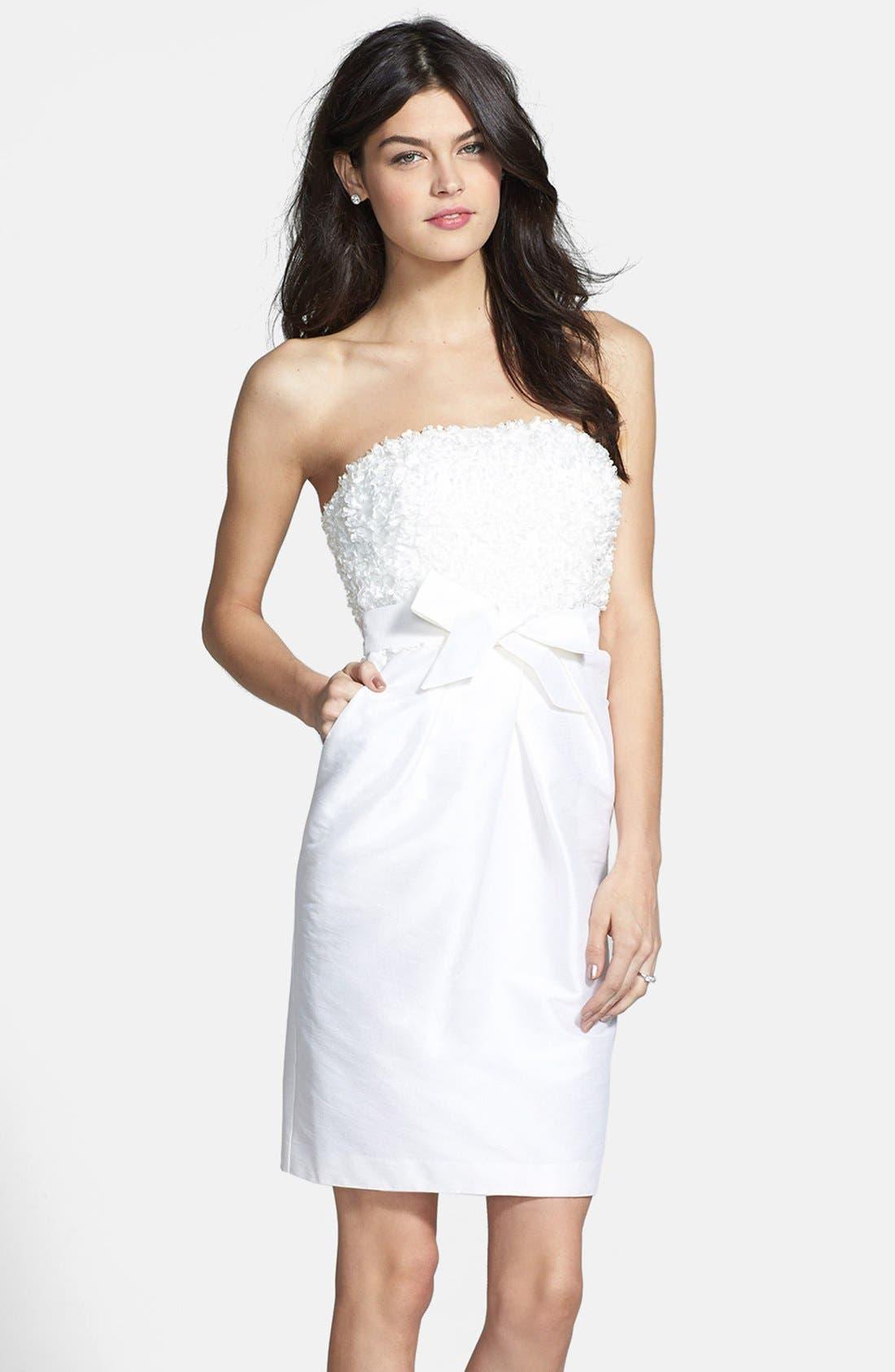 Main Image - Donna Morgan 'Gemma' Strapless Rosette Dress (Online Only)