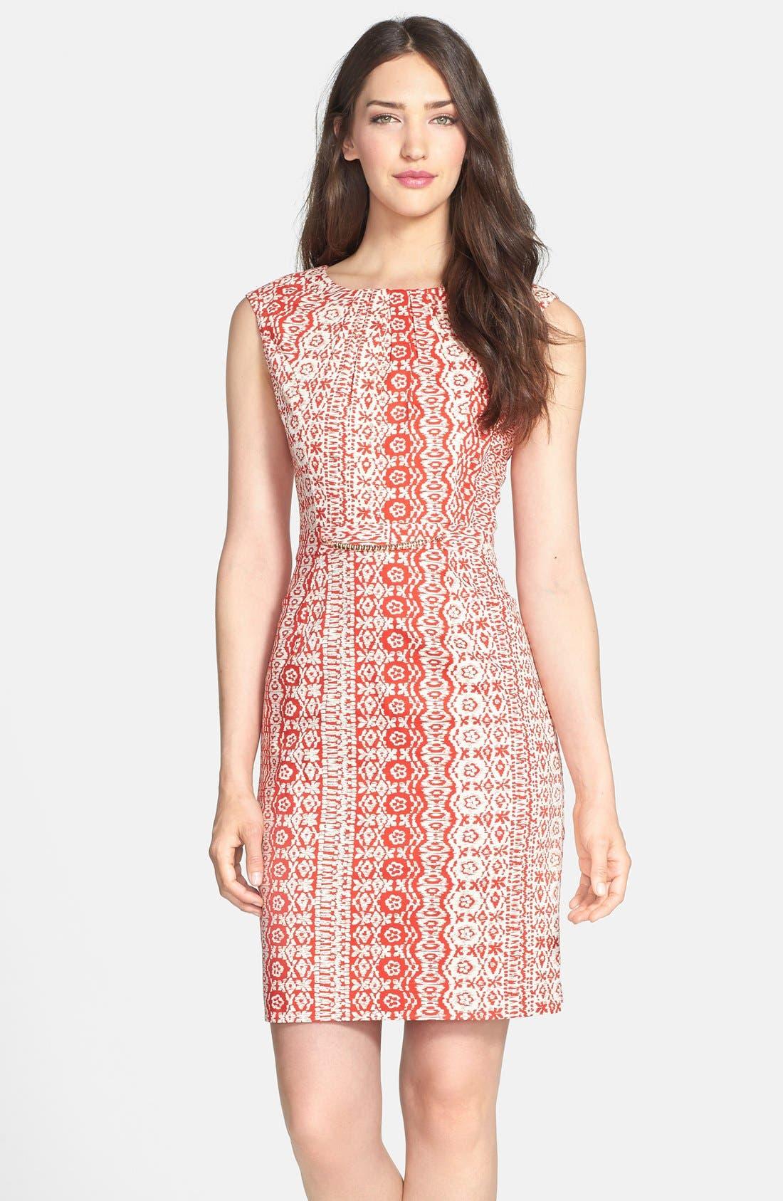 Alternate Image 1 Selected - Ellen Tracy Print Stretch Cotton Sheath Dress