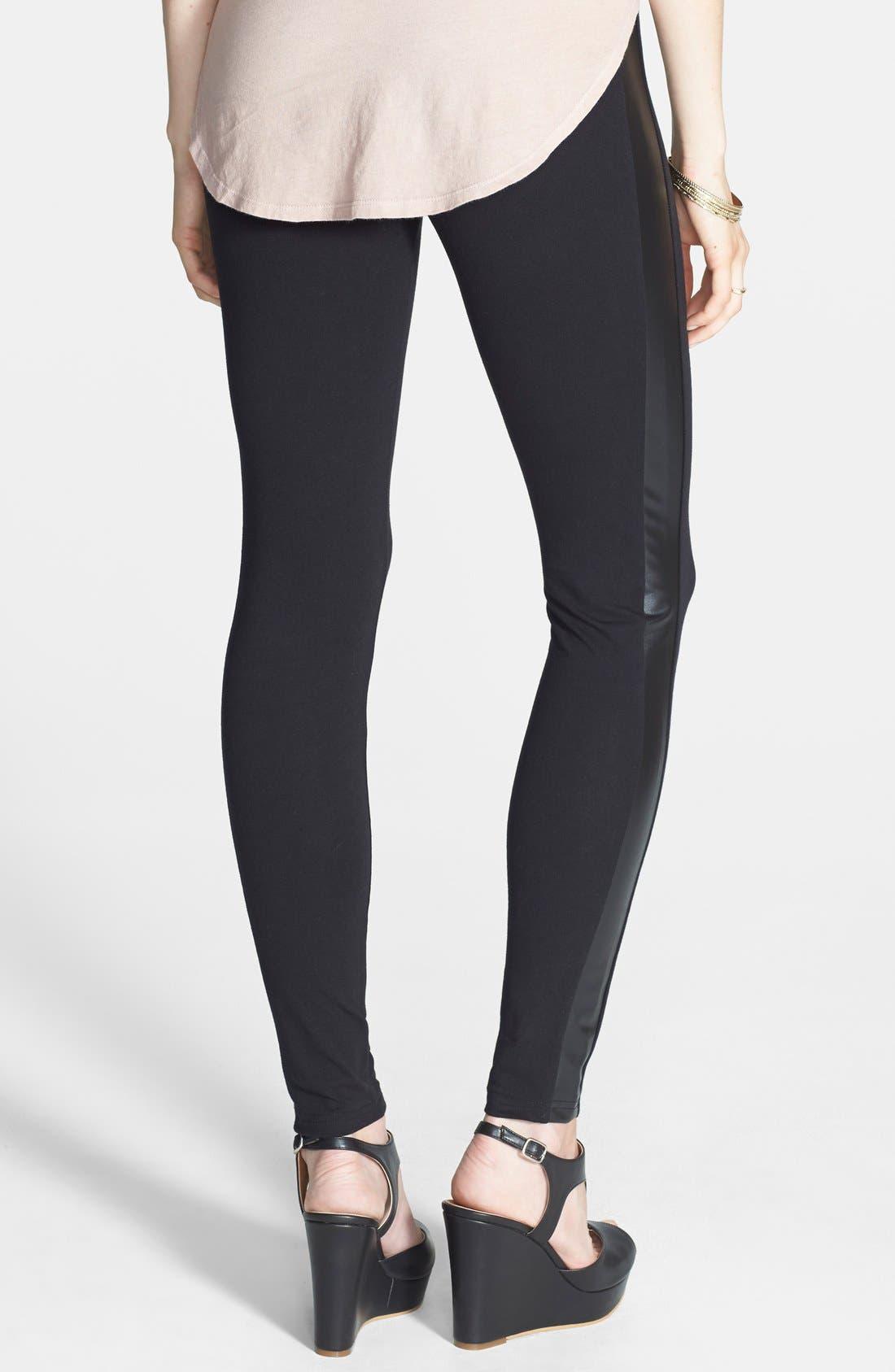 Alternate Image 2  - BP. Faux Leather Stripe Leggings (Juniors)