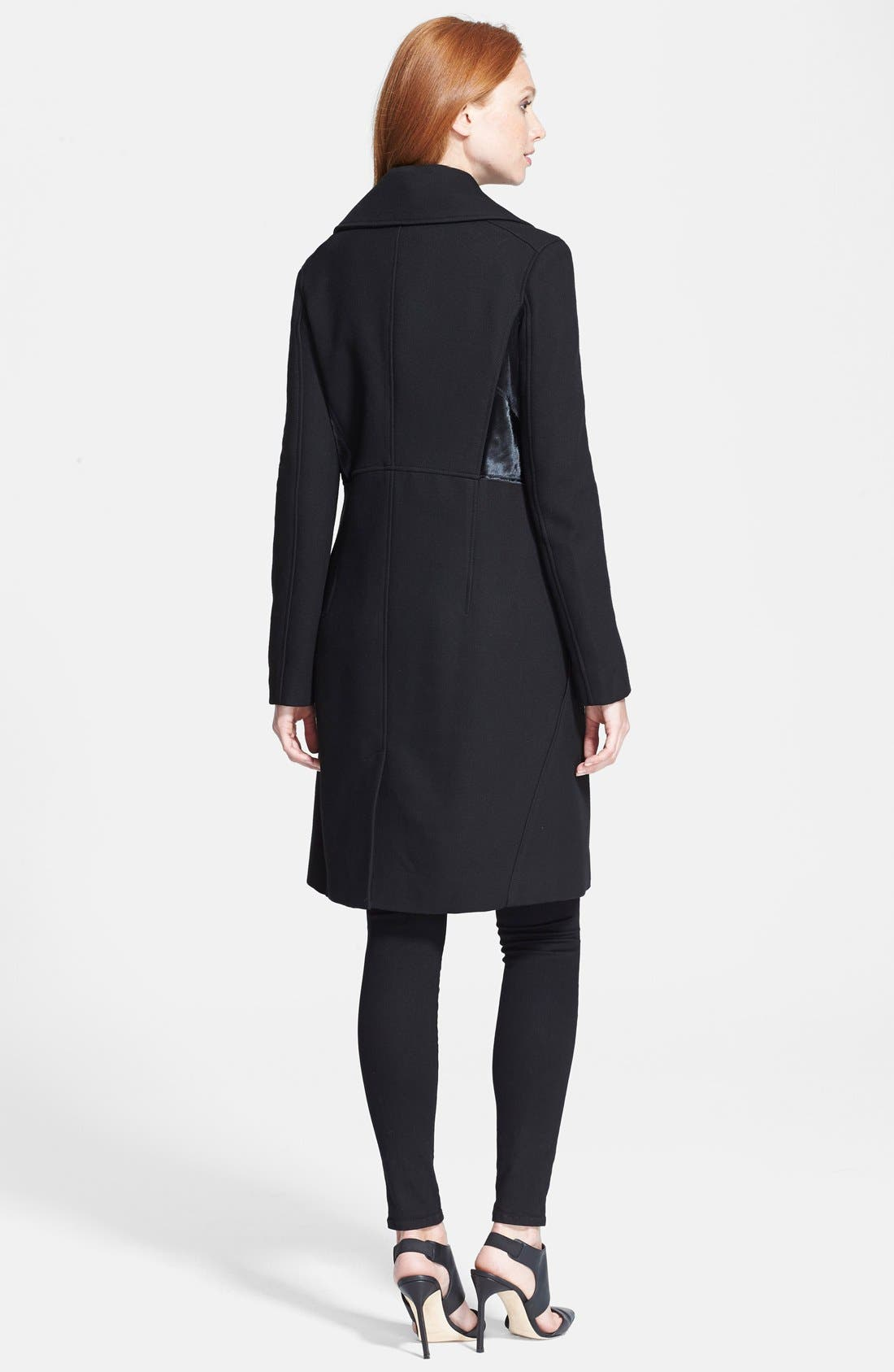 Alternate Image 2  - Diane von Furstenberg Long Sleeve Calf Hair Coat