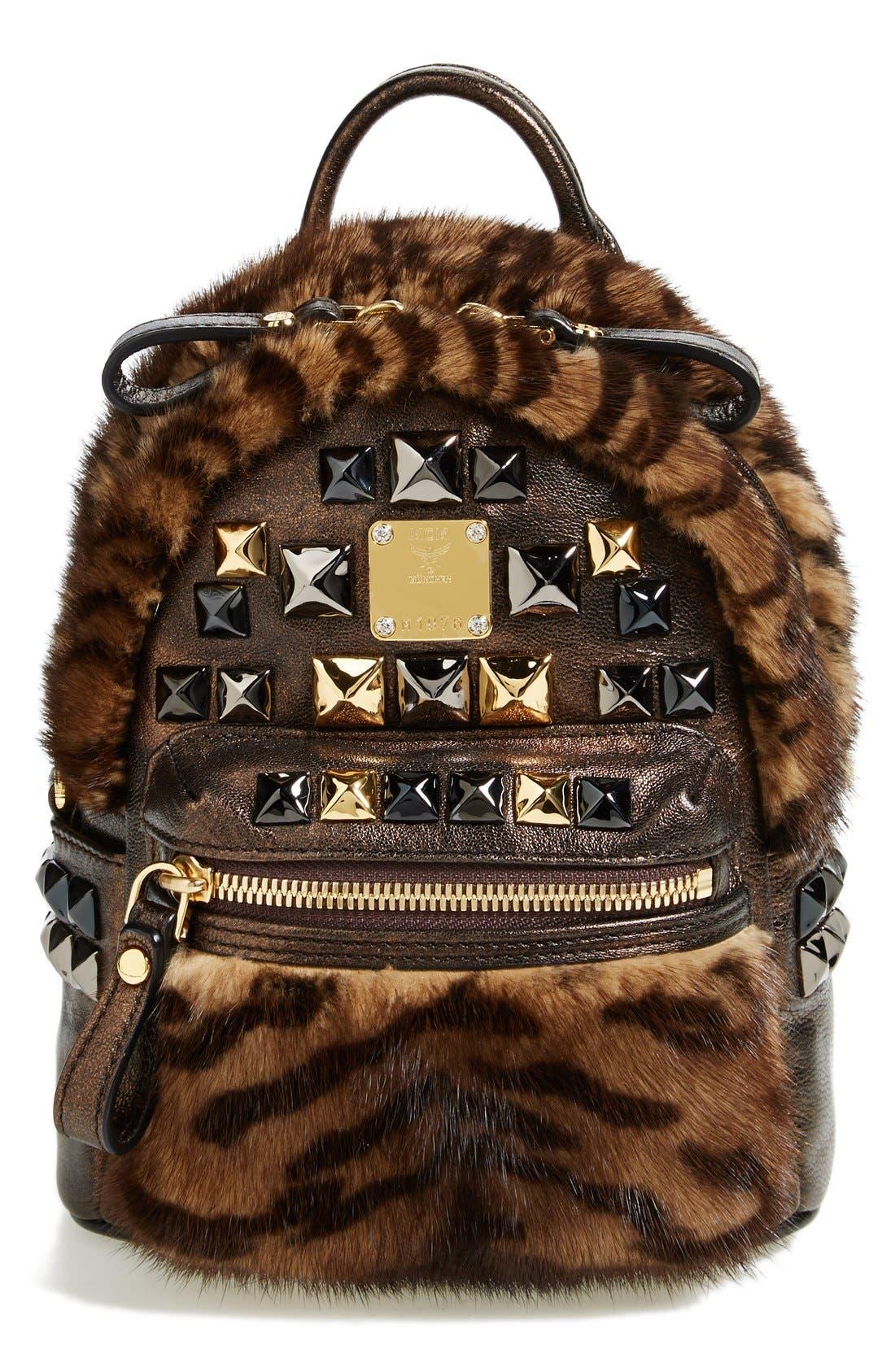 Main Image - MCM 'Xmini' Metallic Goatskin & Genuine Mink Fur Convertible Backpack