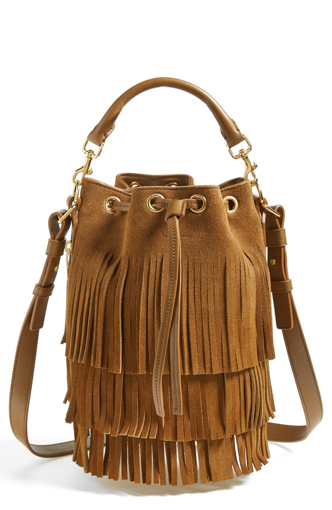 SAINT LAURENT Seau Fringed Suede Bucket Bag