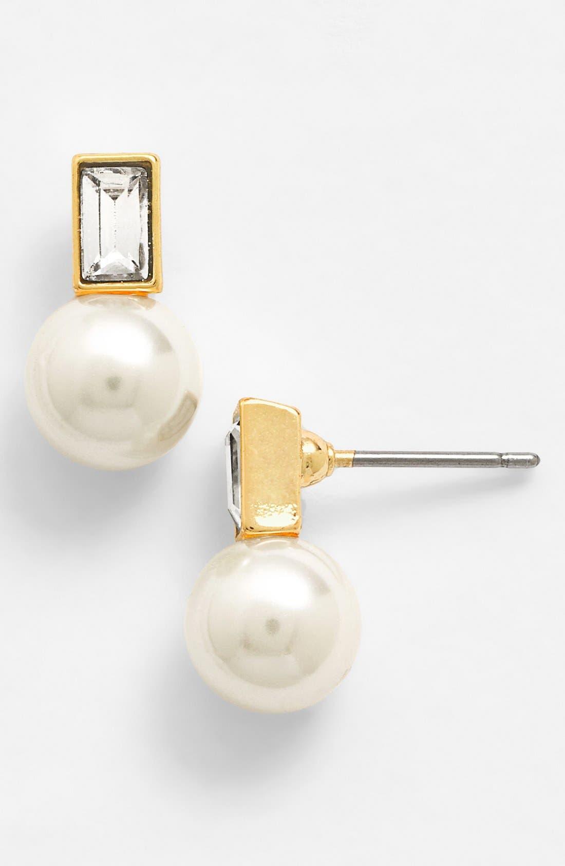 Alternate Image 1 Selected - Anne Klein Faux Pearl & Crystal Earrings