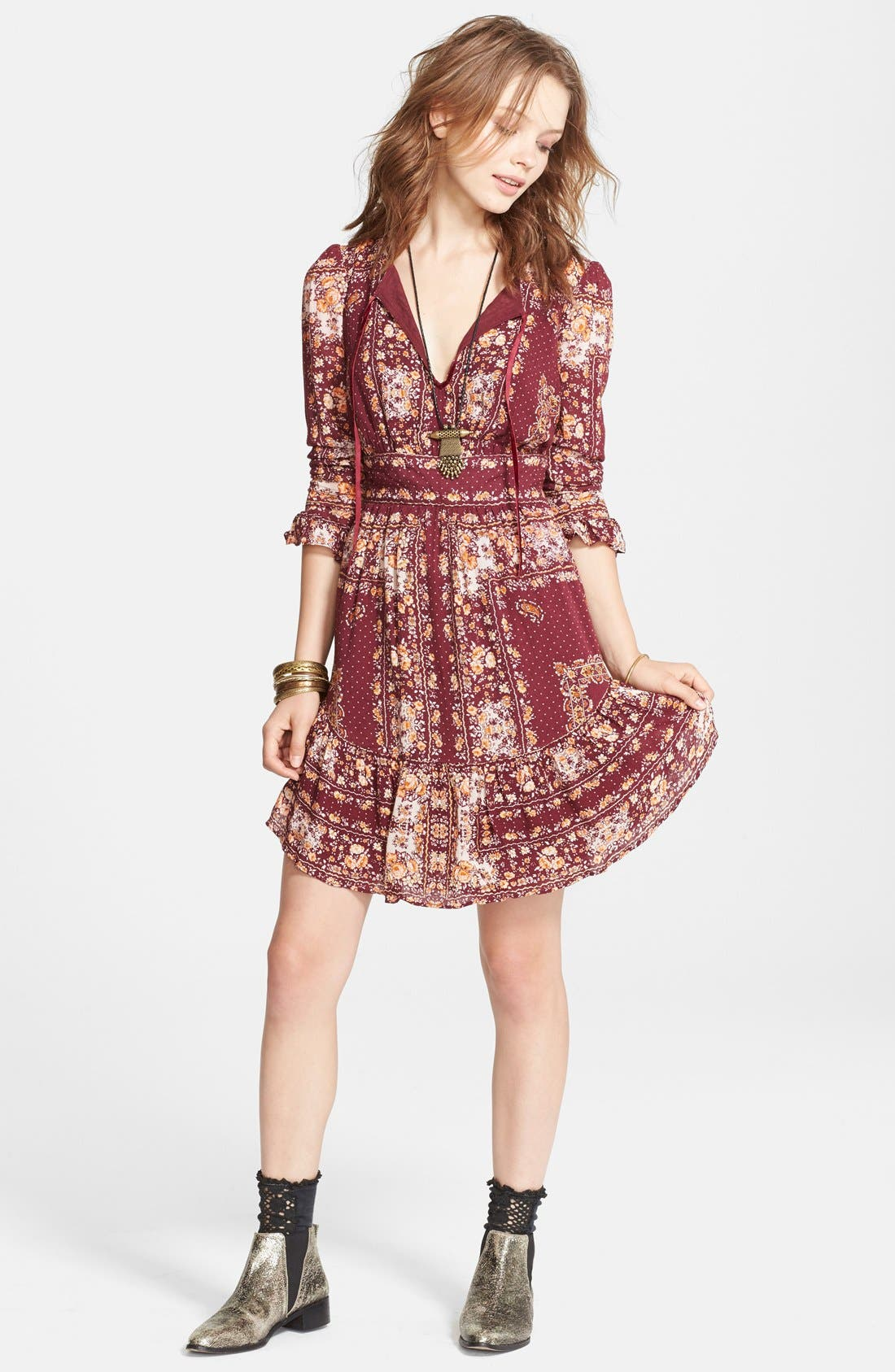 Alternate Image 4  - Free People 'Bridgette' Print Ruffle Hem Dress