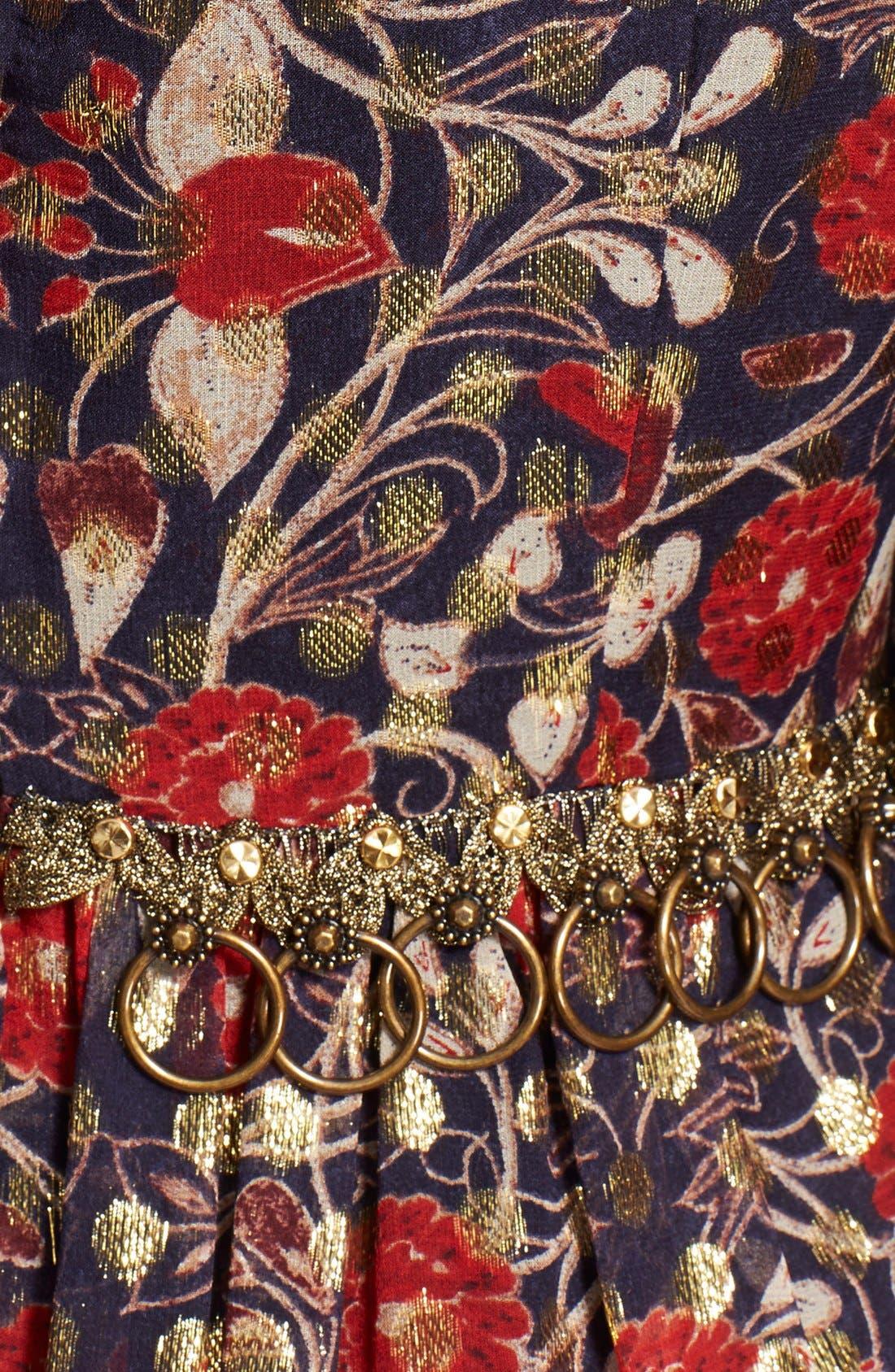 'Leane' Floral Print Embellished Gown,                             Alternate thumbnail 3, color,                             Arras