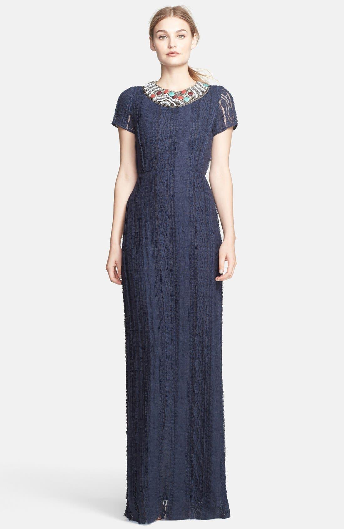 Main Image - Korovilas 'Georgia' Encrusted Neck Lace Maxi Dress