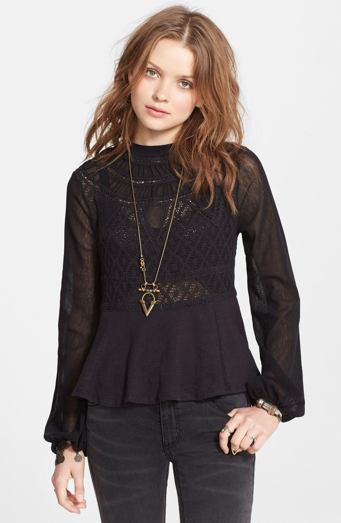 Main Image - Free People 'English Rose' Embroidered Lace Top