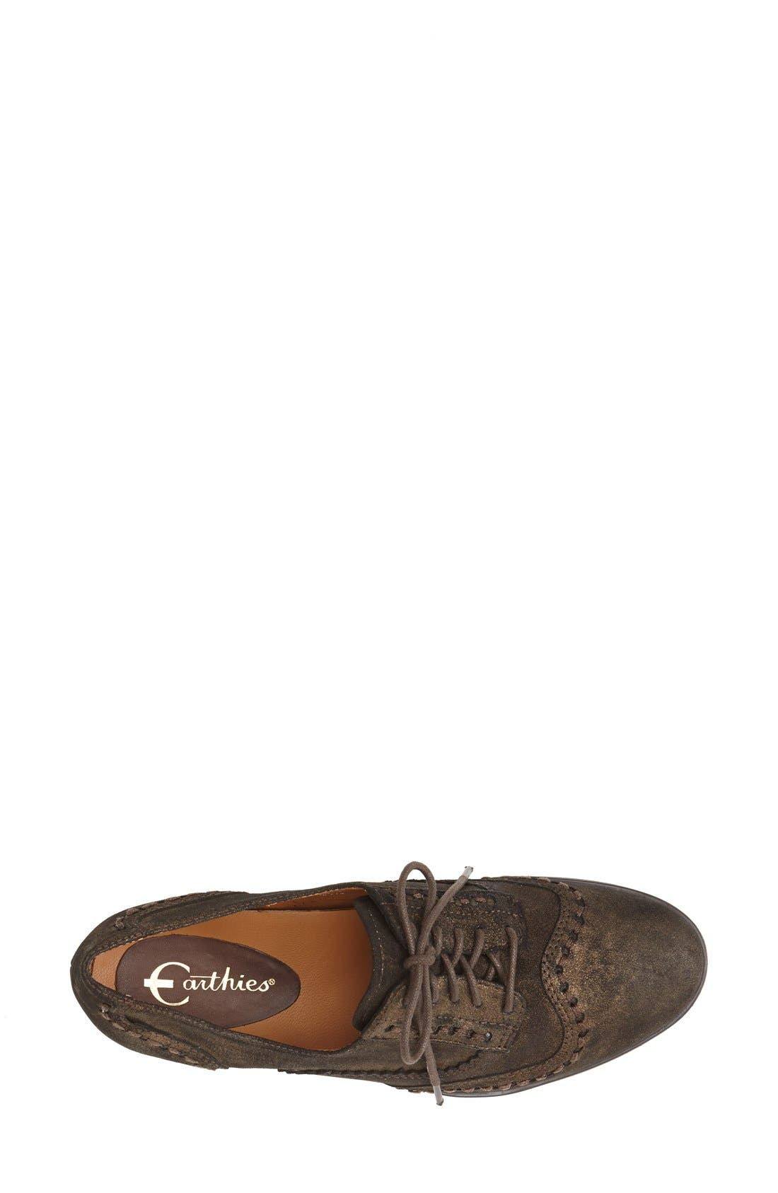 Alternate Image 3  - Earthies® 'Lisbon' Pearlized Suede Lace-Up Flat (Women)