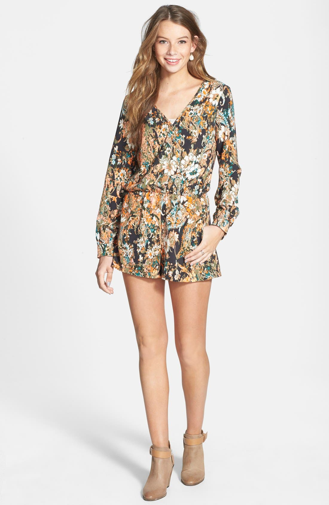 Alternate Image 3  - Socialite Long Sleeve Romper (Juniors)