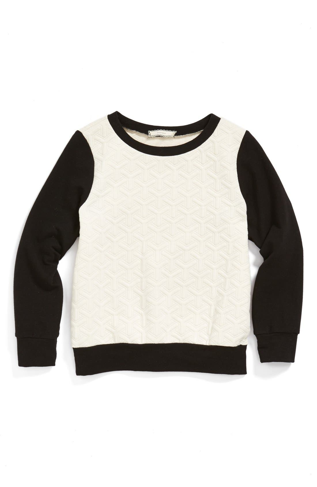 Alternate Image 1 Selected - Soprano Quilted Sweater (Big Girls)