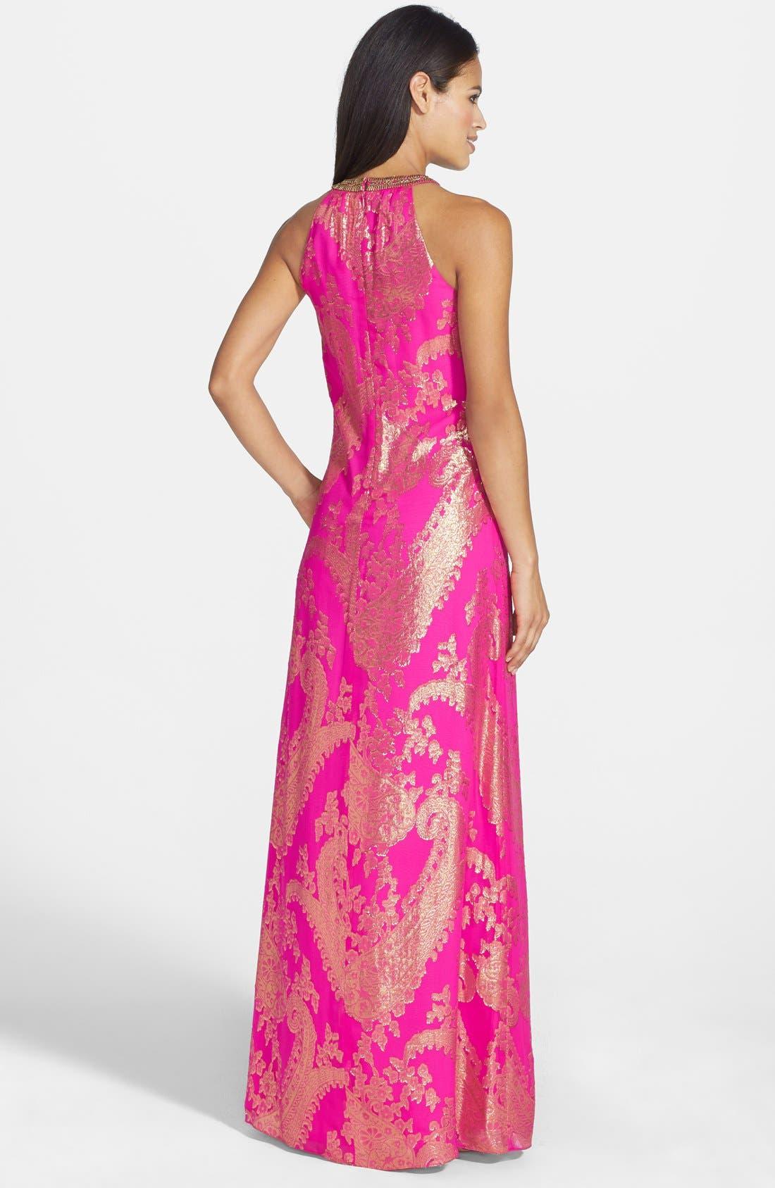 Alternate Image 2  - Lilly Pulitzer® 'Franconia' Beaded Neck Metallic Jacquard Maxi Dress
