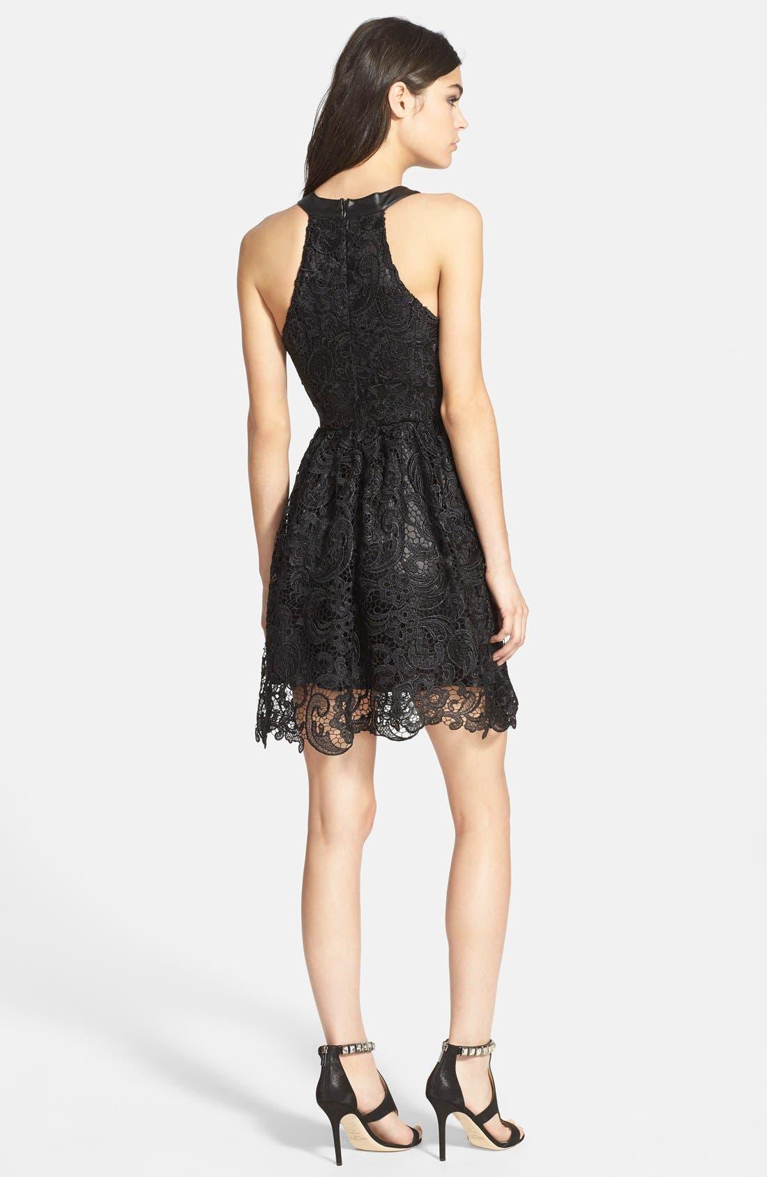 ASTR Faux Leather Trim Lace Dress,                             Alternate thumbnail 2, color,                             Black