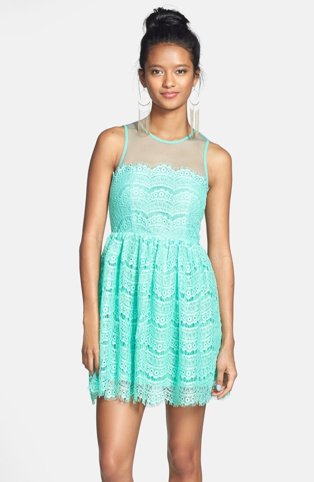 Alternate Image 1 Selected - En Crème Eyelash Lace Skater Dress (Juniors)
