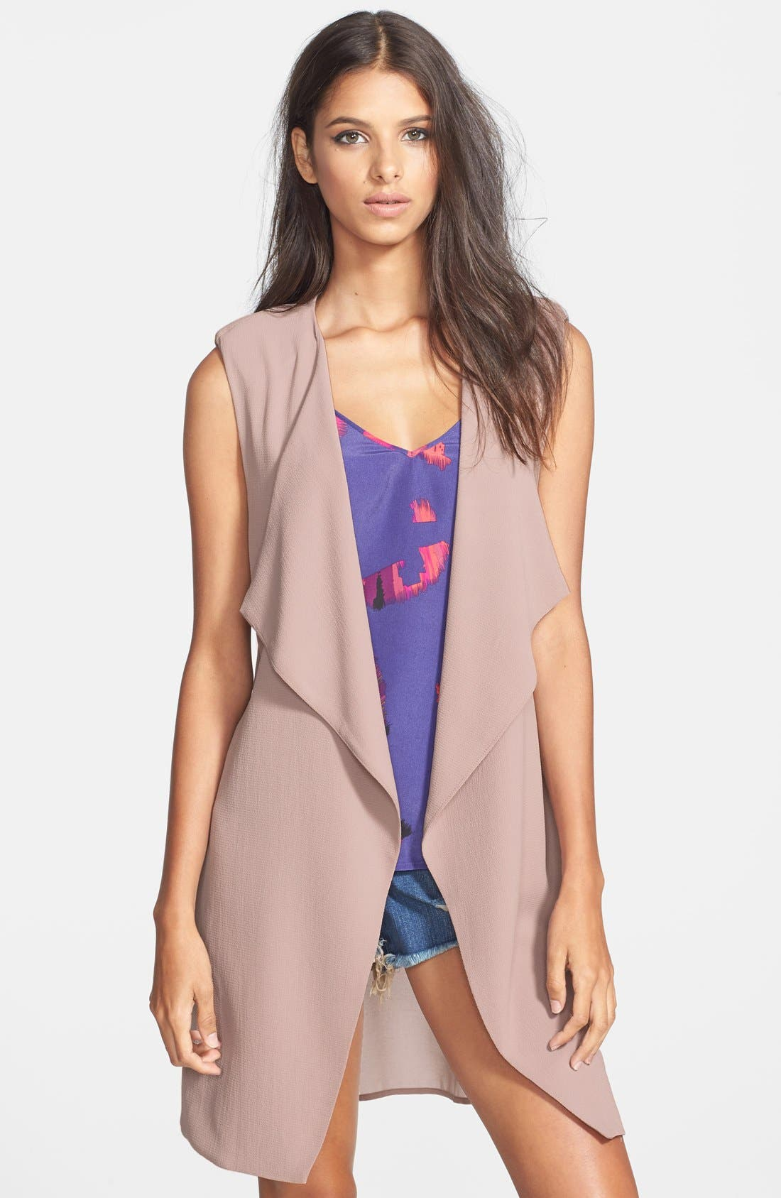 Main Image - ASTR Draped Sheer Panel Vest