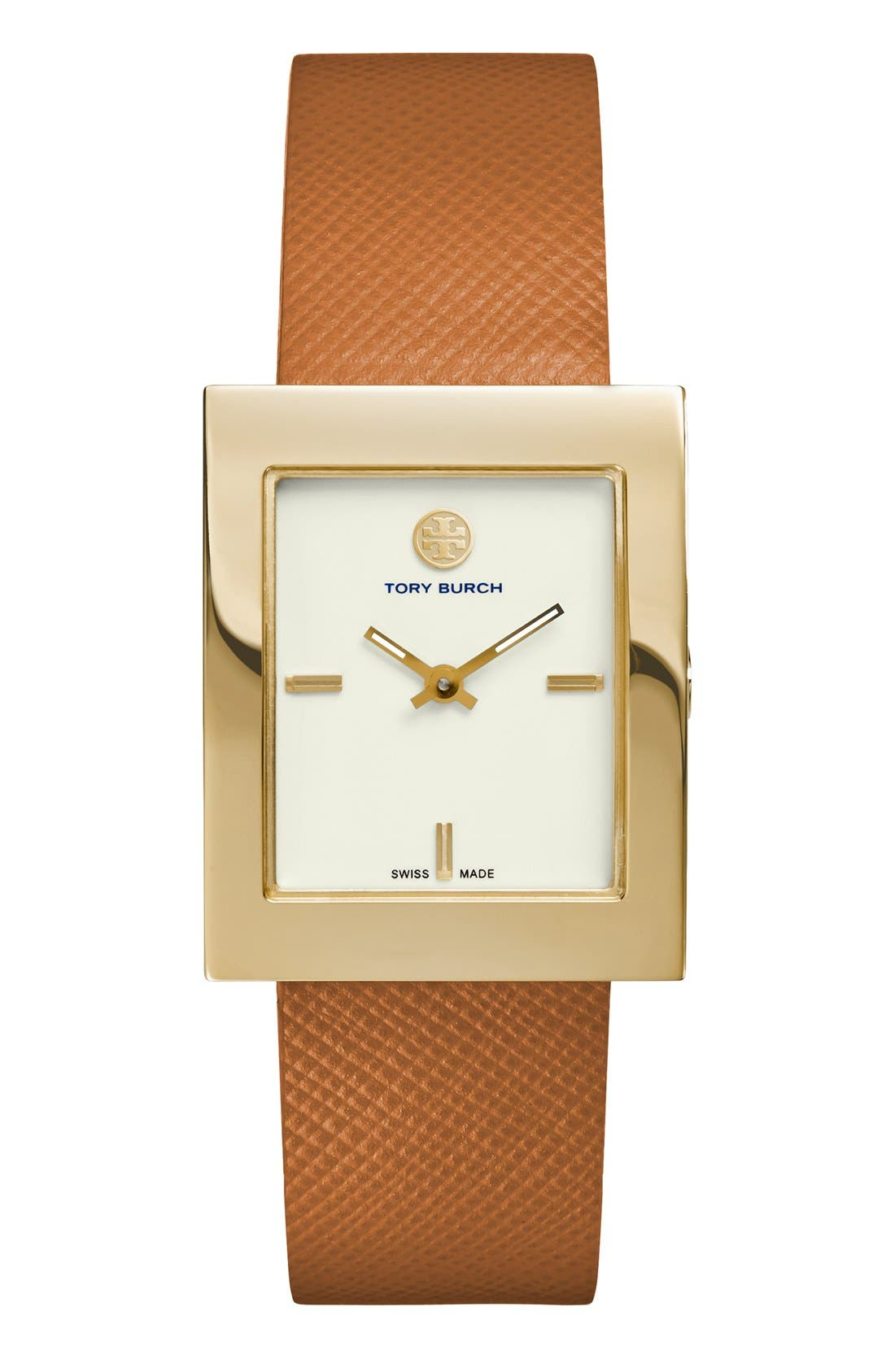 Main Image - Tory Burch 'Buddy Classic' Rectangular Saffiano Leather Strap Watch, 26mm x 32mm