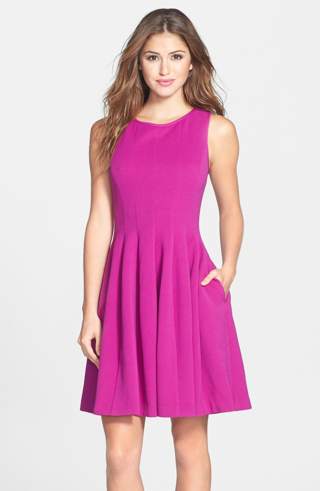 Textured Fit & Flare Dress,                             Main thumbnail 1, color,                             Light Purple