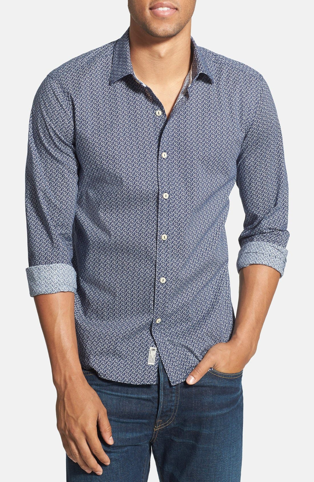 'Blueberry Hill' Trim Fit Print Woven Shirt,                         Main,                         color, Navy