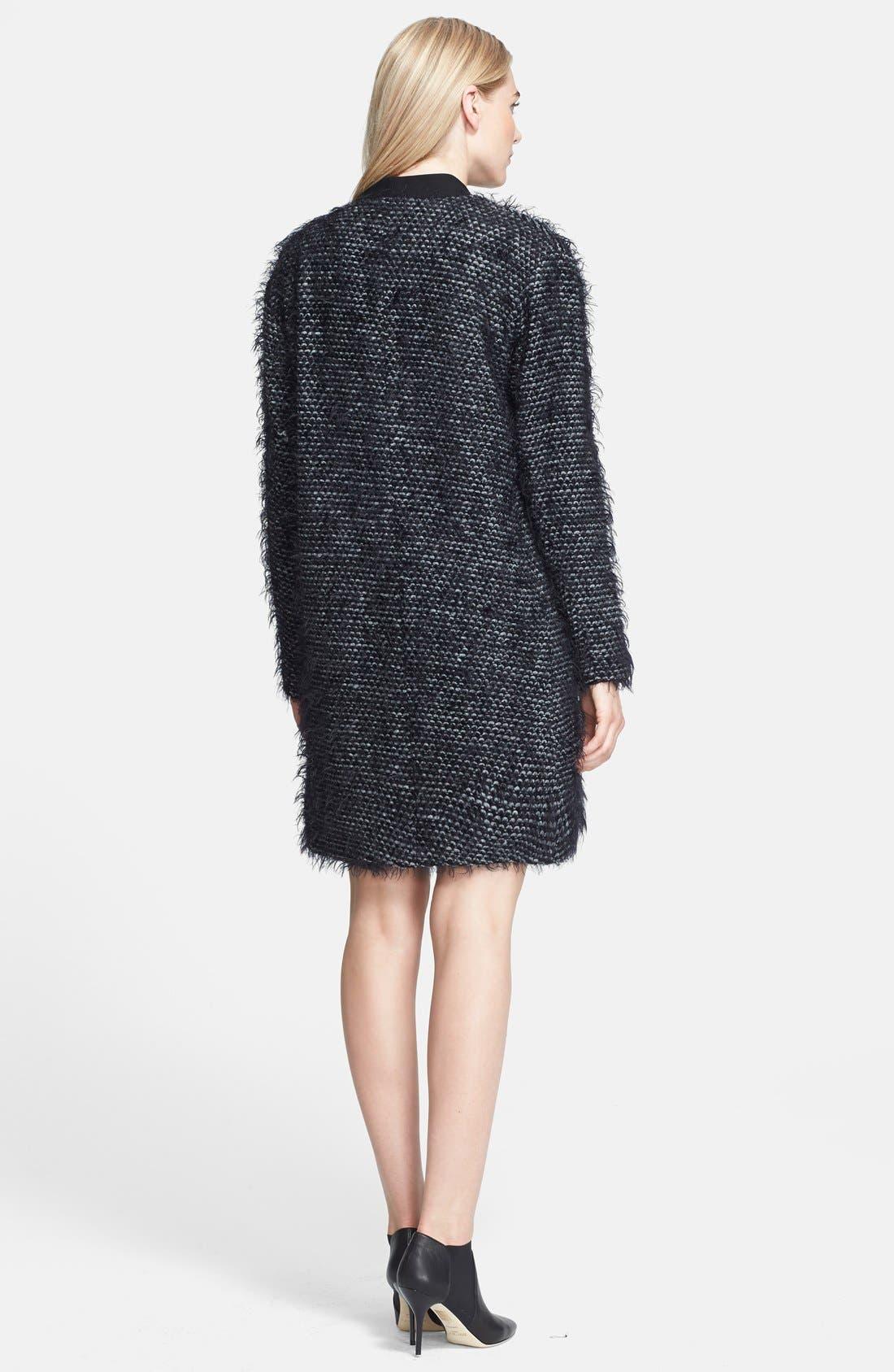 Tweed Long Coat,                             Alternate thumbnail 2, color,                             Black Multi