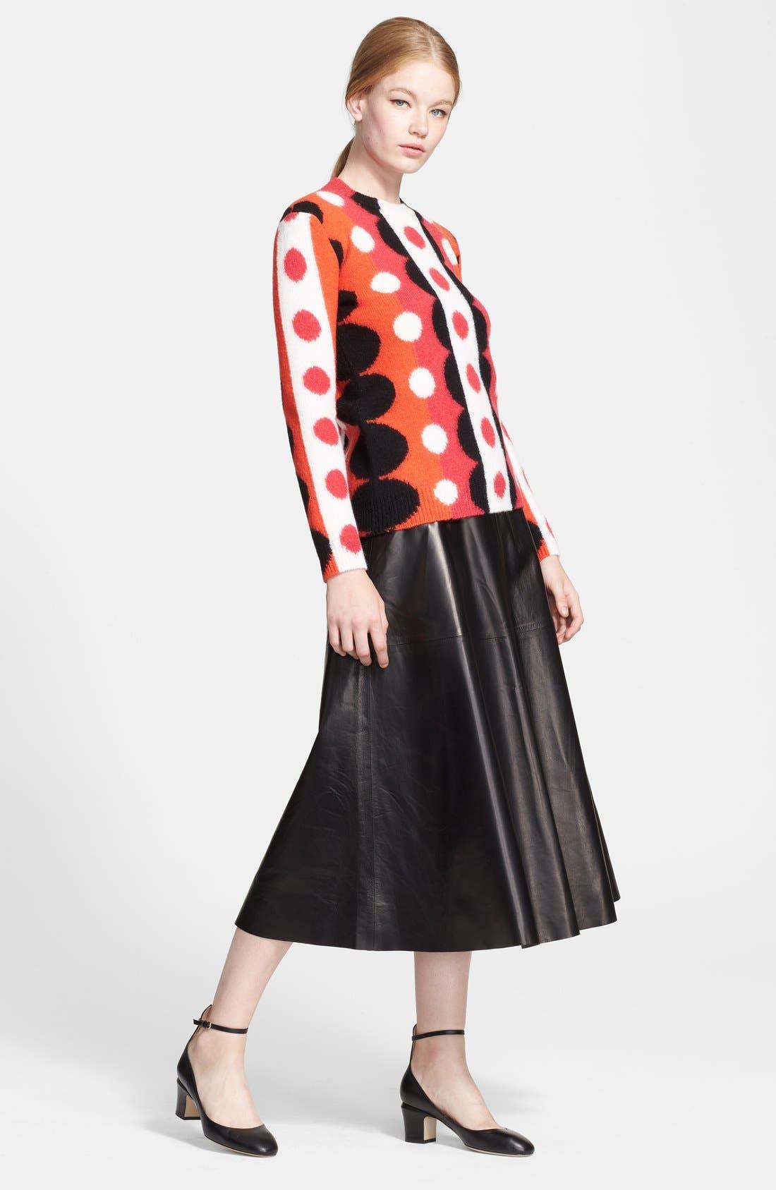 Lightweight Leather Midi Skirt,                             Alternate thumbnail 3, color,                             Black