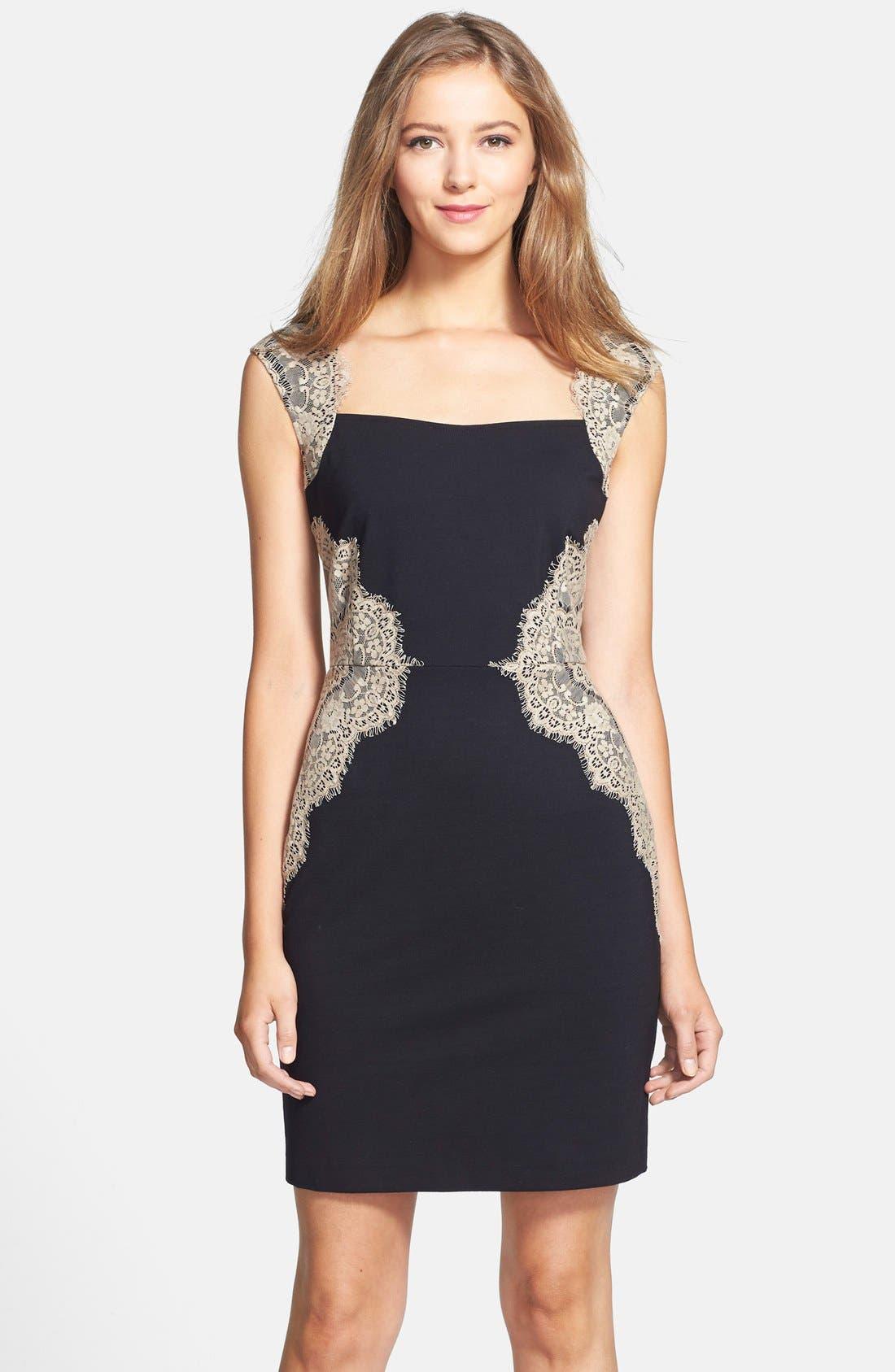 Main Image - ERIN erin fetherston 'Shelby' Lace Panel Ponte Sheath Dress