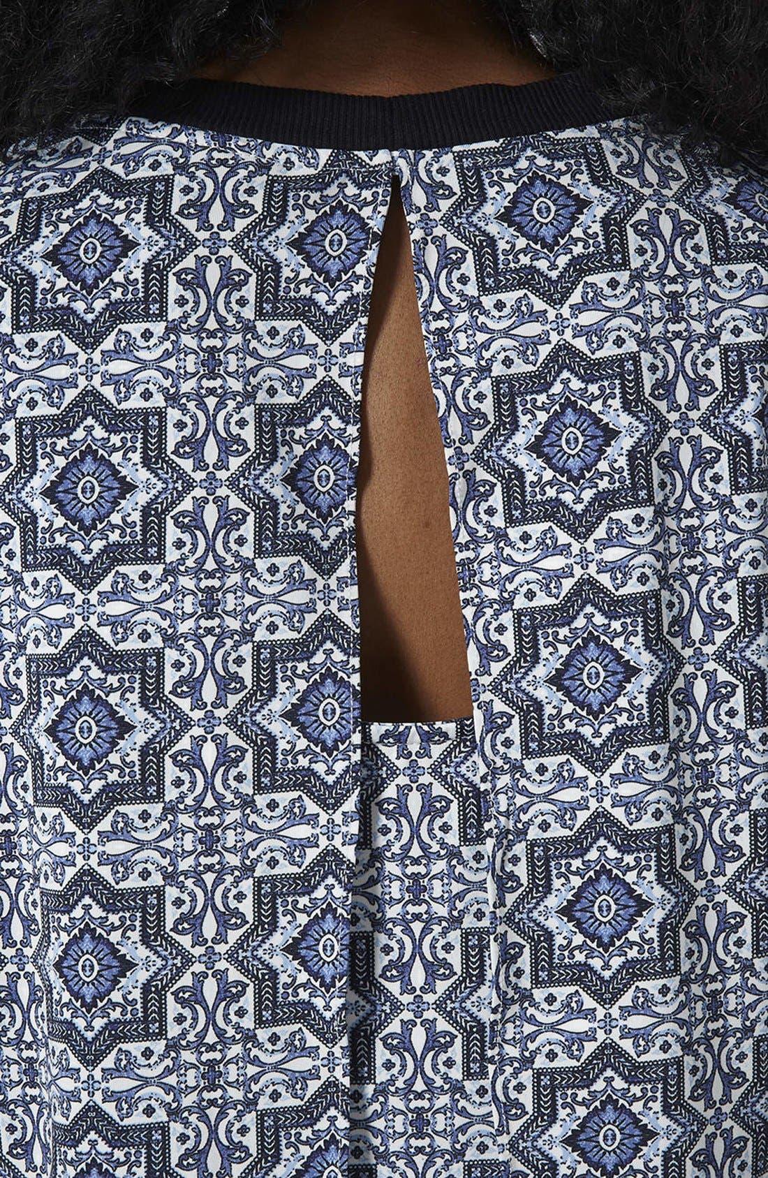 Alternate Image 4  - Topshop Tile Print Crop Overlay Dress