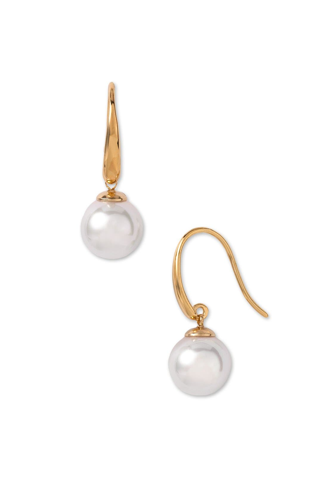 10mm Simulated Pearl Drop Earrings,                             Main thumbnail 1, color,                             White/ Gold
