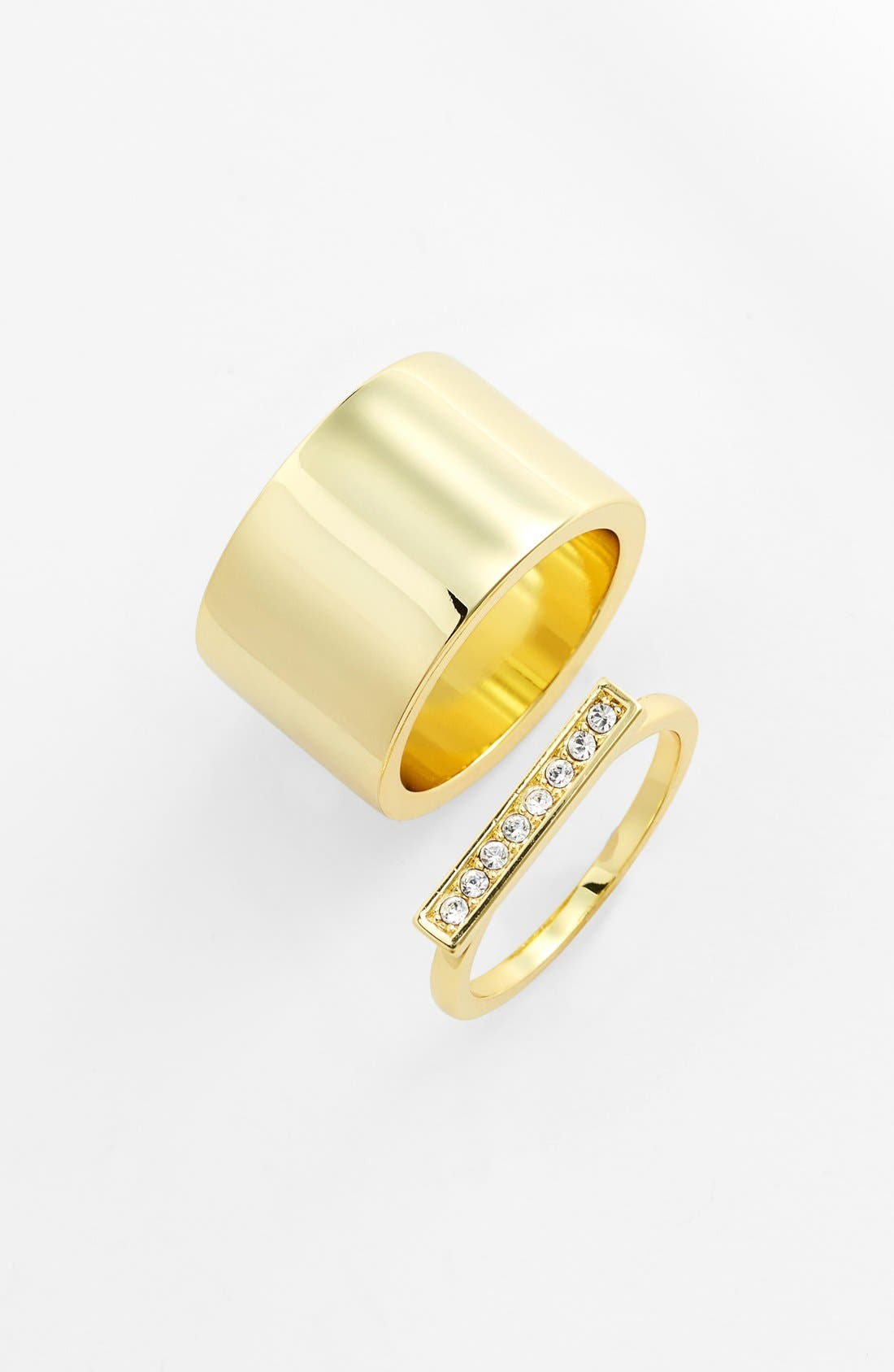 Main Image - Ariella Collection Pavé Bar Ring & Wide Ring (Set of 2)