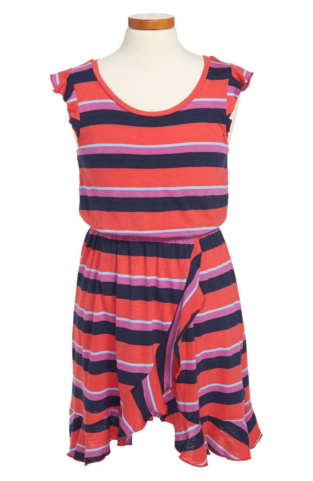 Main Image - Splendid 'Wow' Stripe Flutter Sleeve Dress (Big Girls)