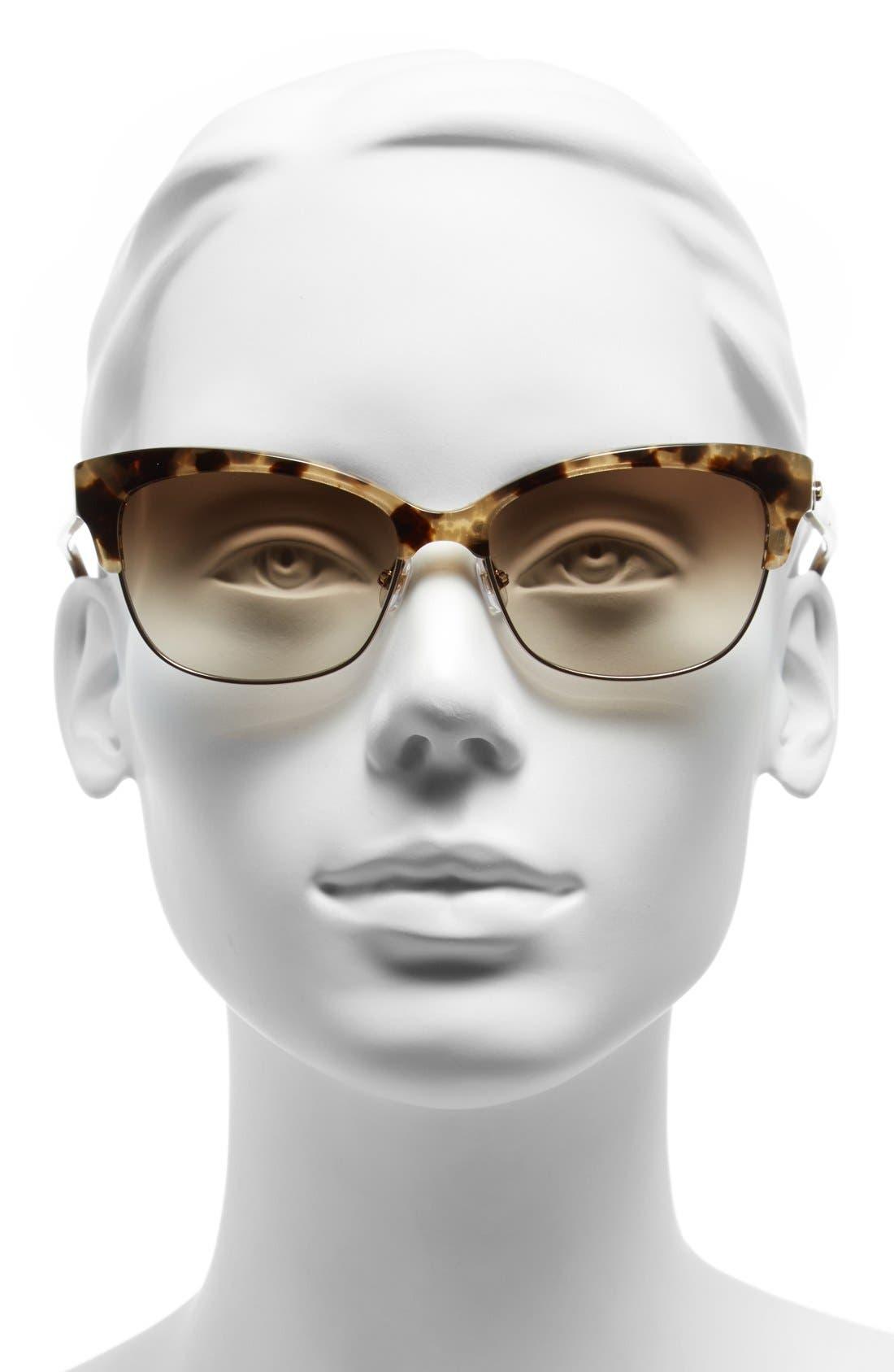 shira 55mm retro sunglasses,                             Alternate thumbnail 2, color,                             Camel Tortoise