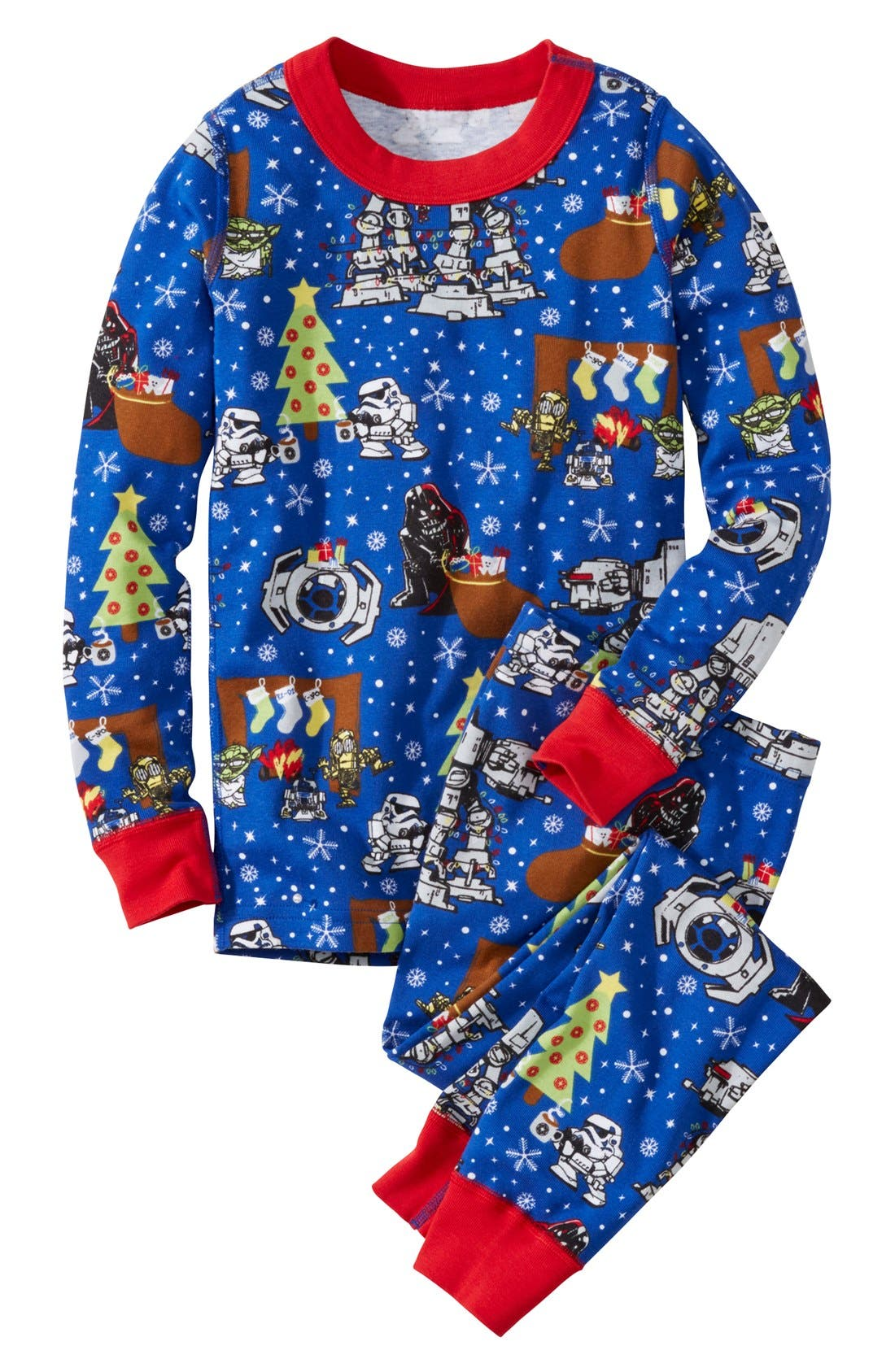 Alternate Image 1 Selected - Hanna Andersson Star Wars™ Holiday Organic Cotton Fitted Two-Piece Pajamas (Toddler Boys, Little Boys & Big Boys)