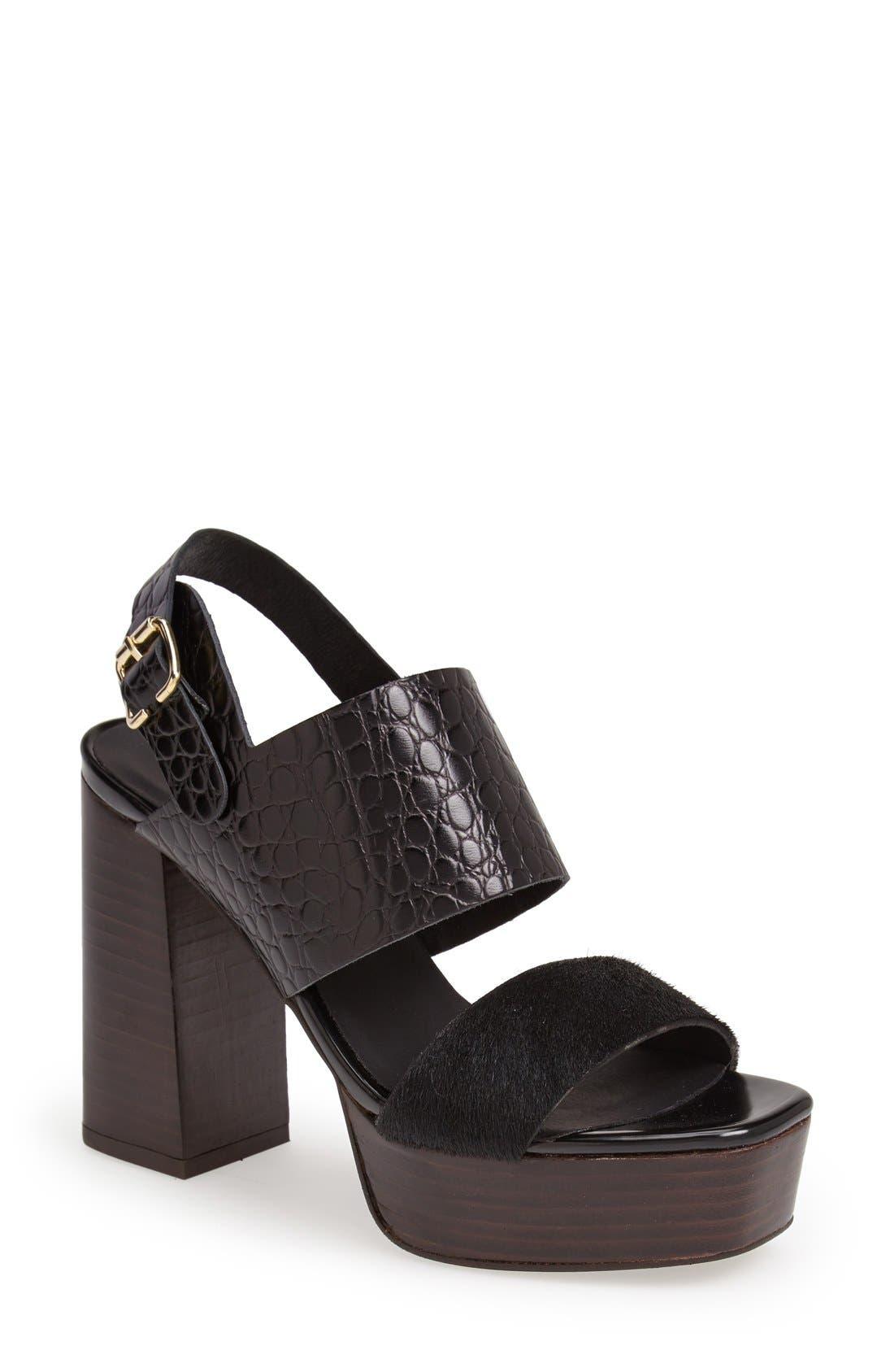 Alternate Image 1 Selected - Topshop 'Lime' Platform Sandal (Women)