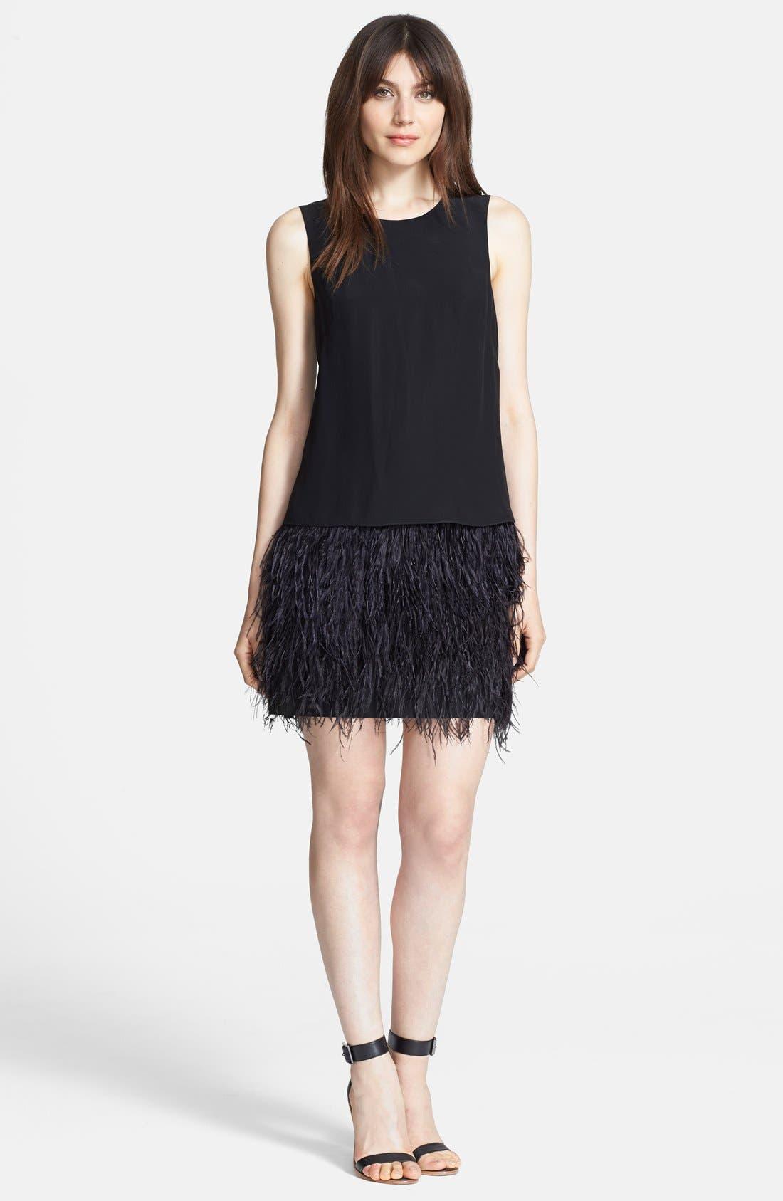 Main Image - Tibi 'Cera Tuxedo' Ostrich Feather Dress