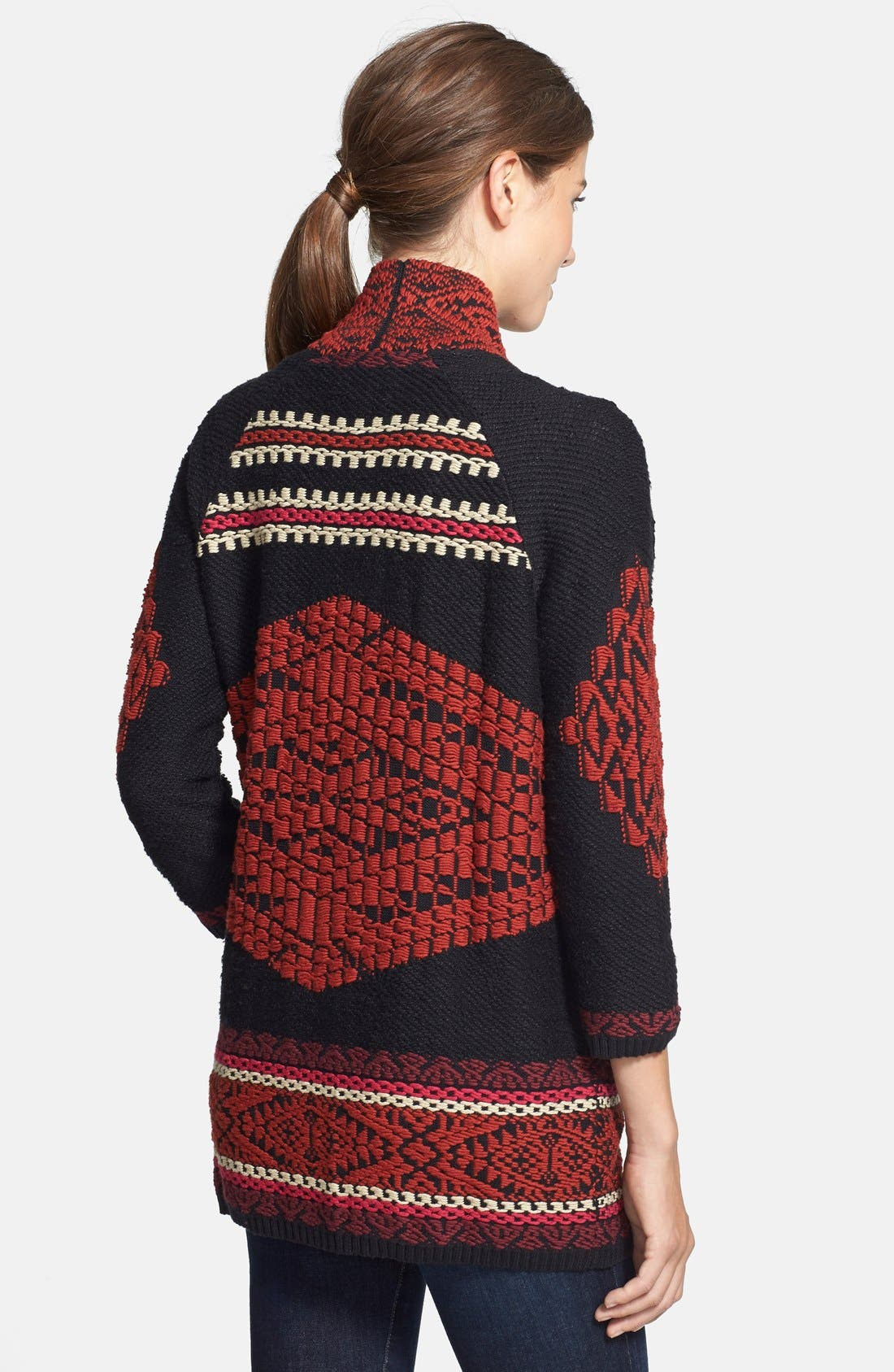 Alternate Image 2  - Lucky Brand Jacquard Sweater Coat