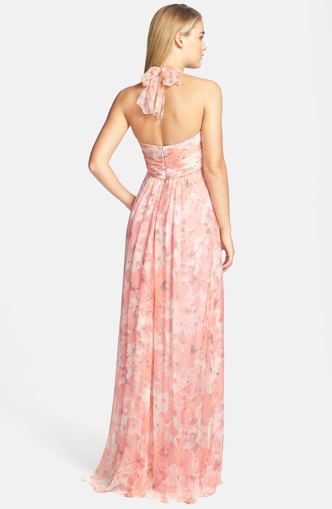 Alternate Image 2  - Amsale Print Crinkled Silk Chiffon Halter Gown
