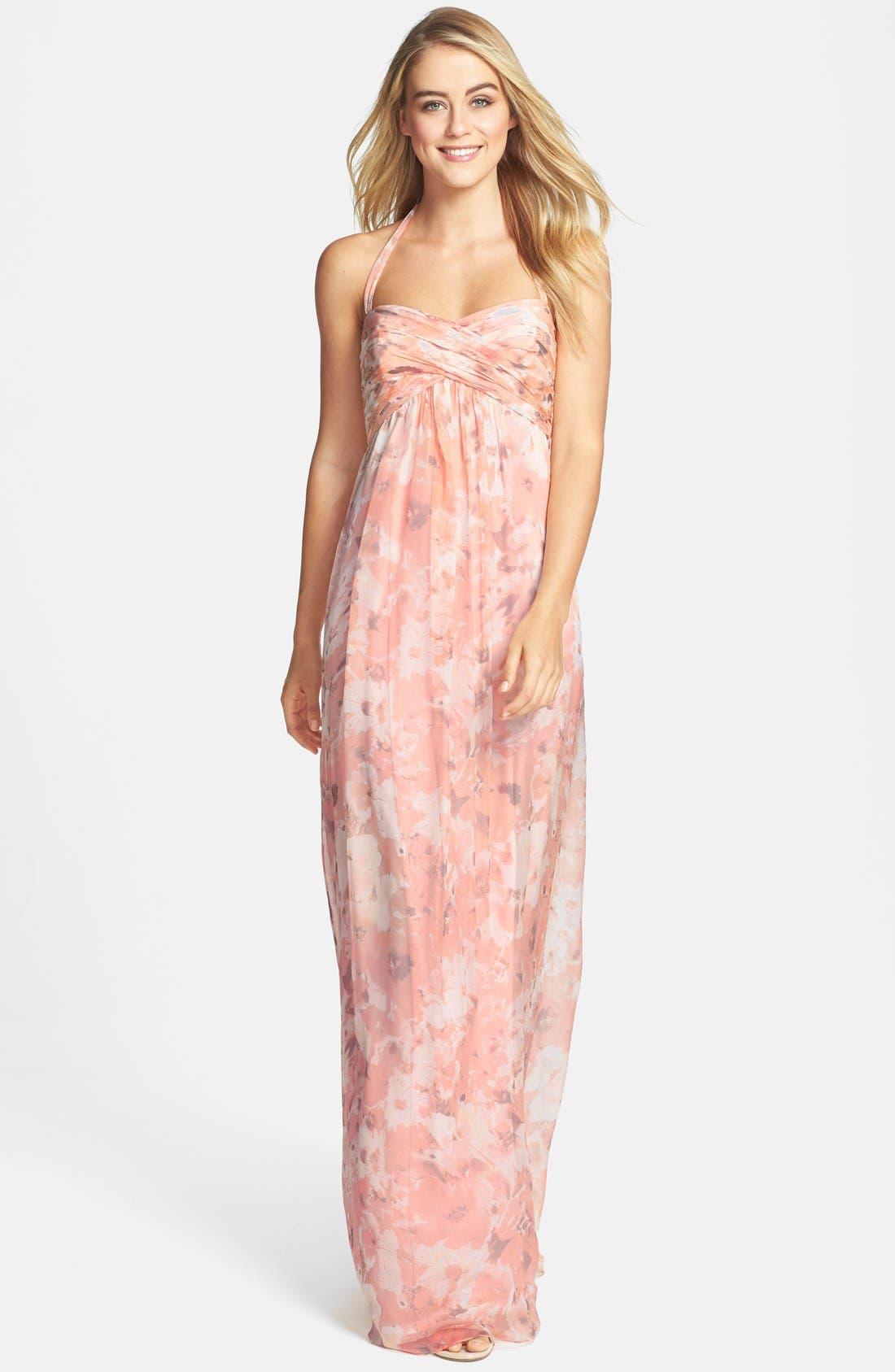 Alternate Image 1 Selected - Amsale Print Crinkled Silk Chiffon Halter Gown