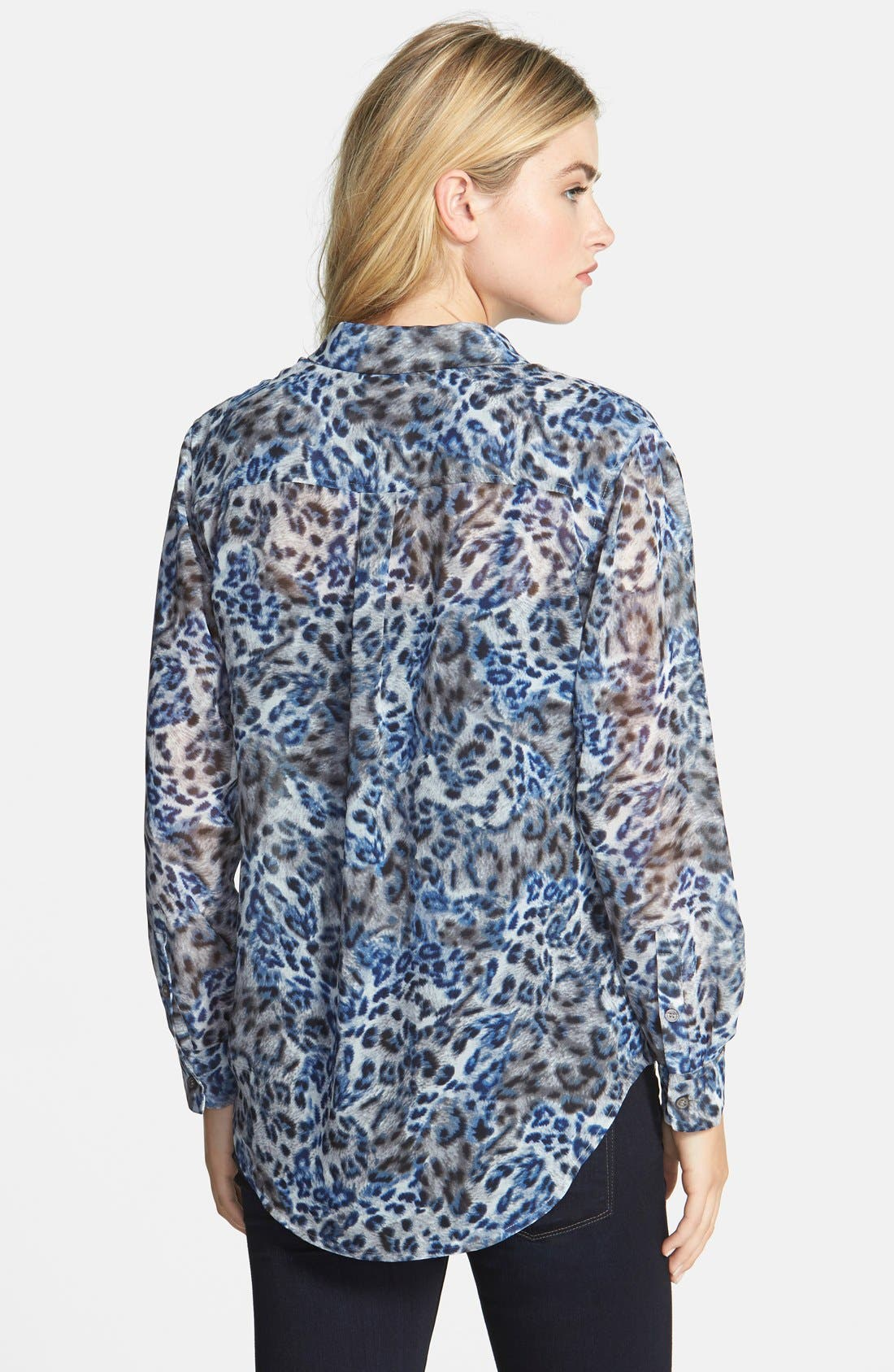 Alternate Image 2  - Two by Vince Camuto Leopard Print Utility Blouse