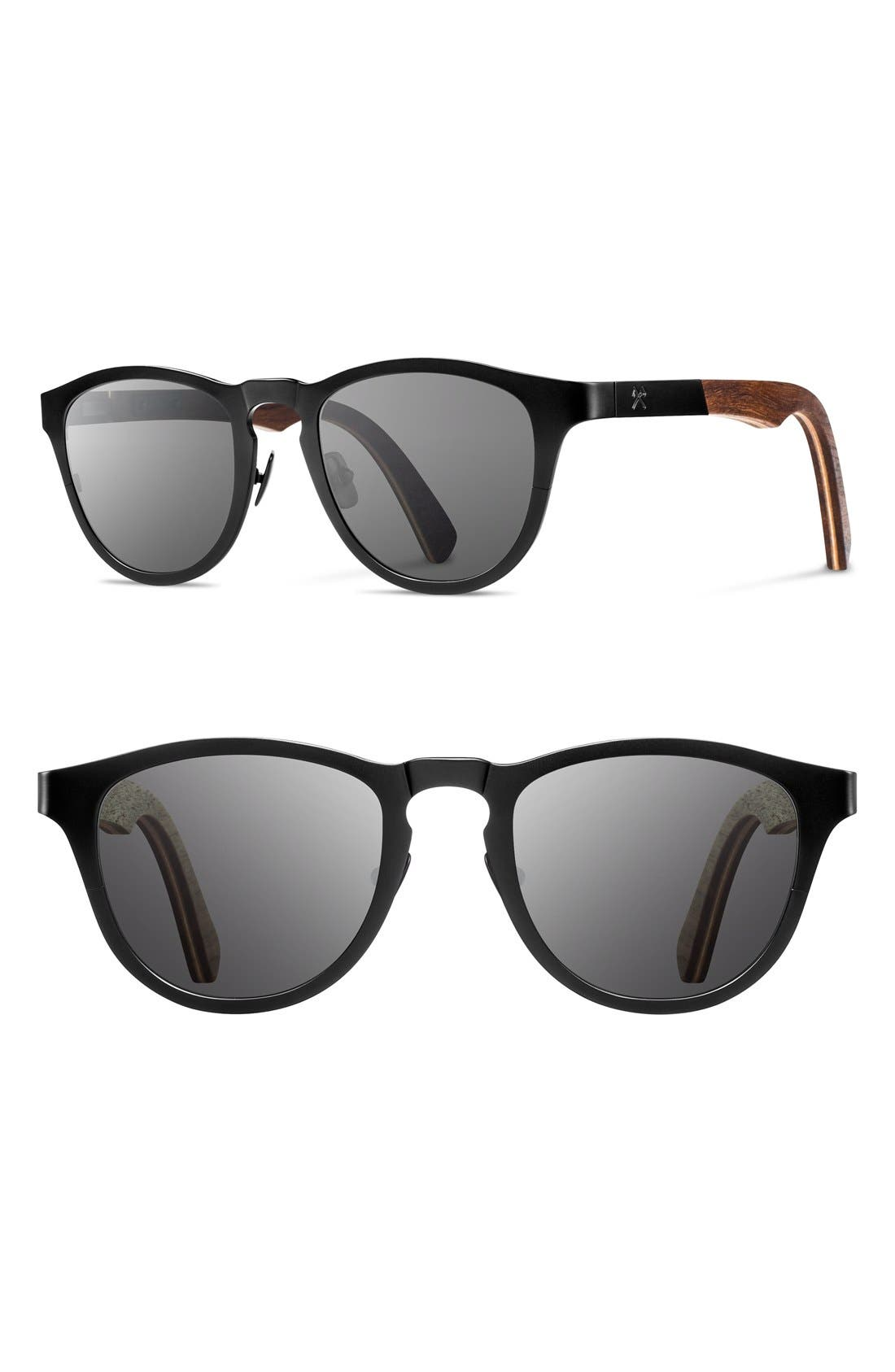 'Francis' 49mm Titanium & Wood Sunglasses,                         Main,                         color, Black/ Walnut