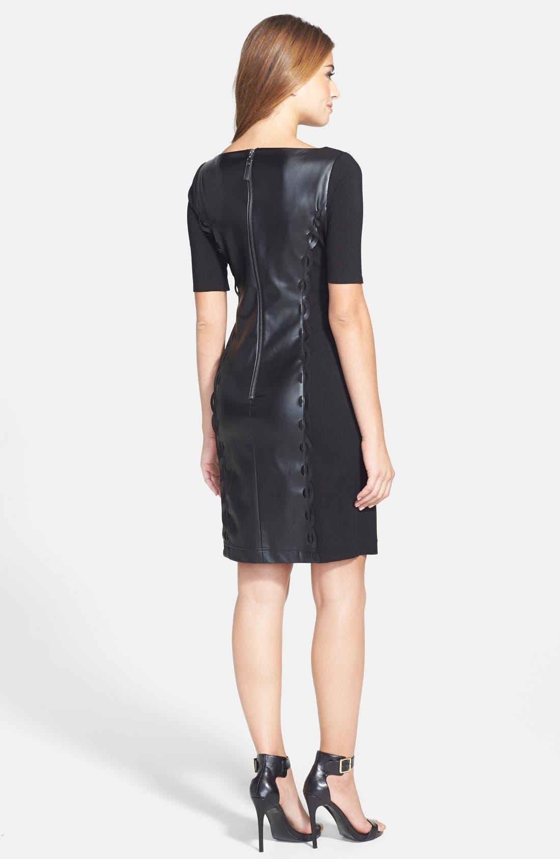 Alternate Image 2  - Nue by Shani Laser Cut Faux Leather & Ponte Sheath Dress