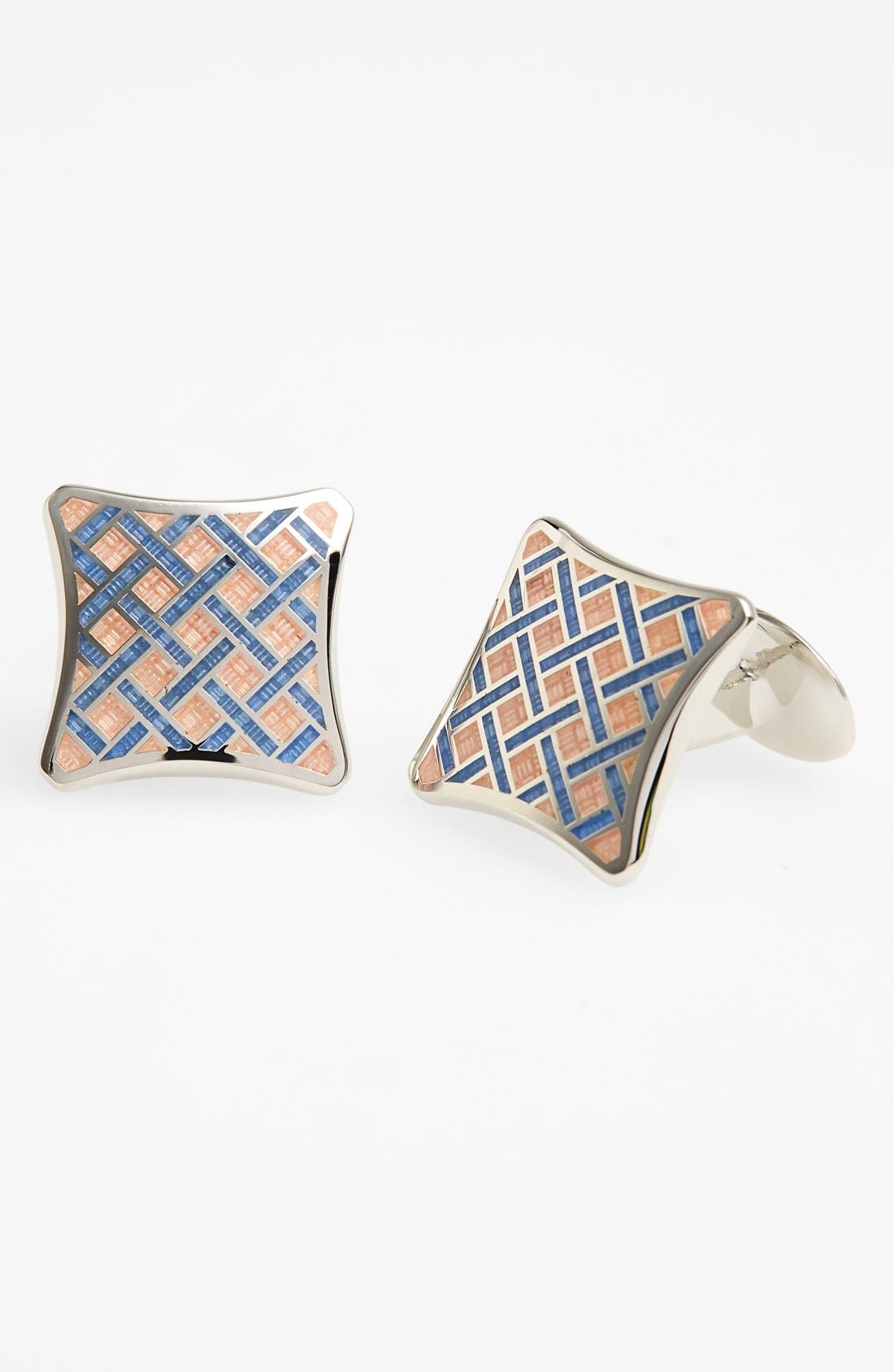 Basketweave Cuff Links,                         Main,                         color, Silver/ Pink/ Light Blue