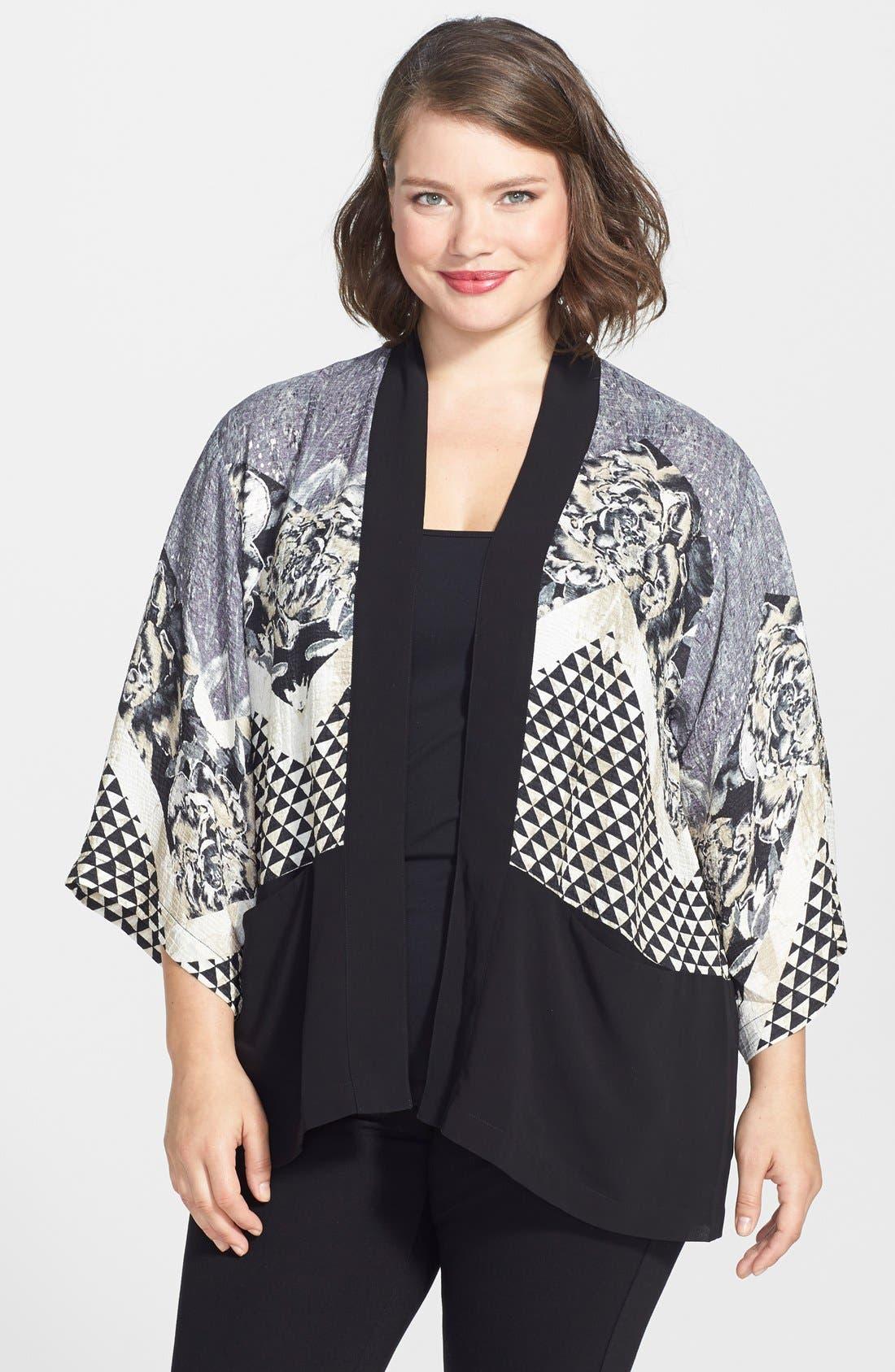 Main Image - Citron Silk Kimono Jacket (Plus Size)