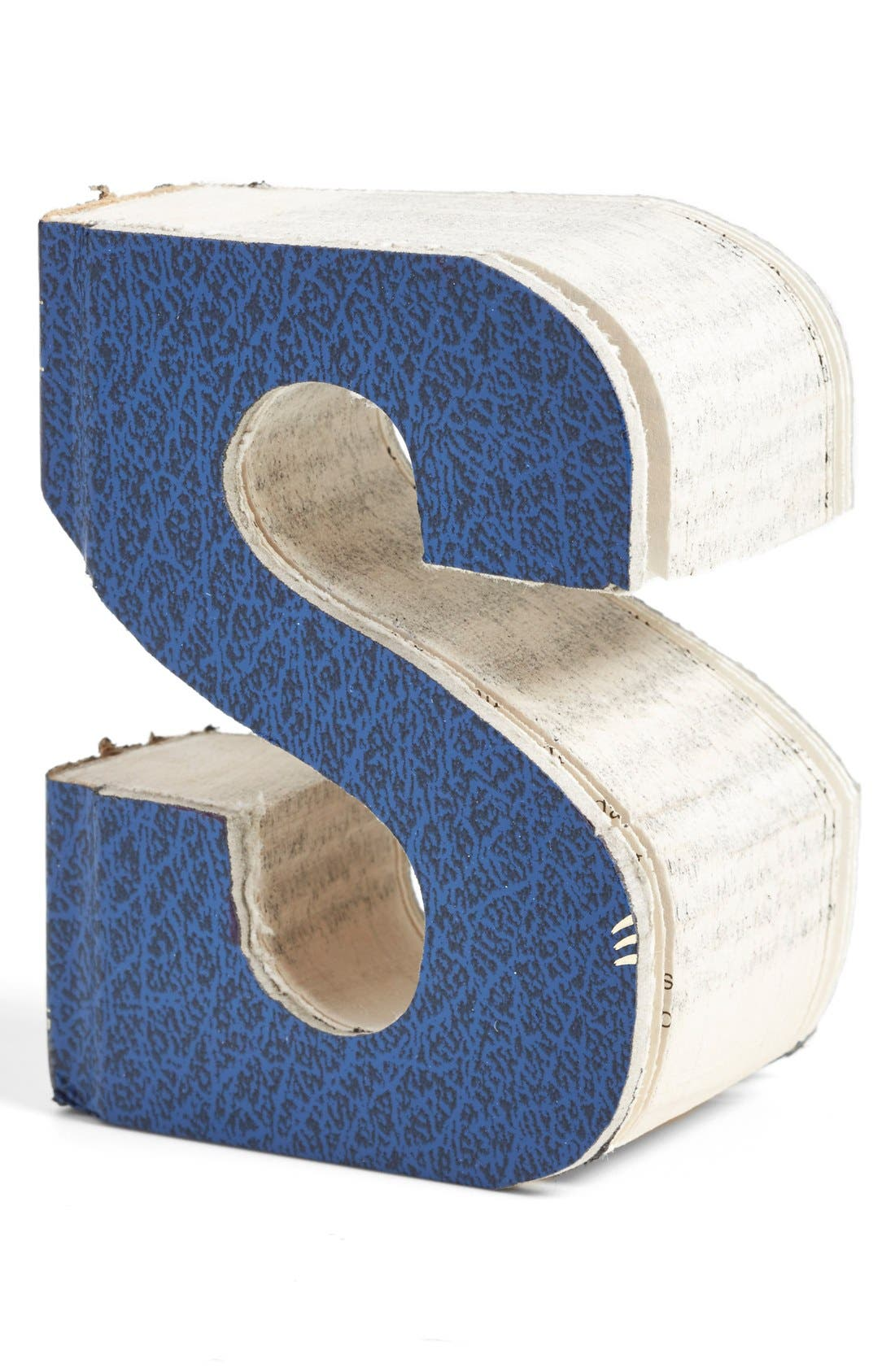 Alternate Image 1 Selected - Second Nature by Hand 'One of a Kind Letter' Hand Carved Recycled Book Shelf Art (Small)